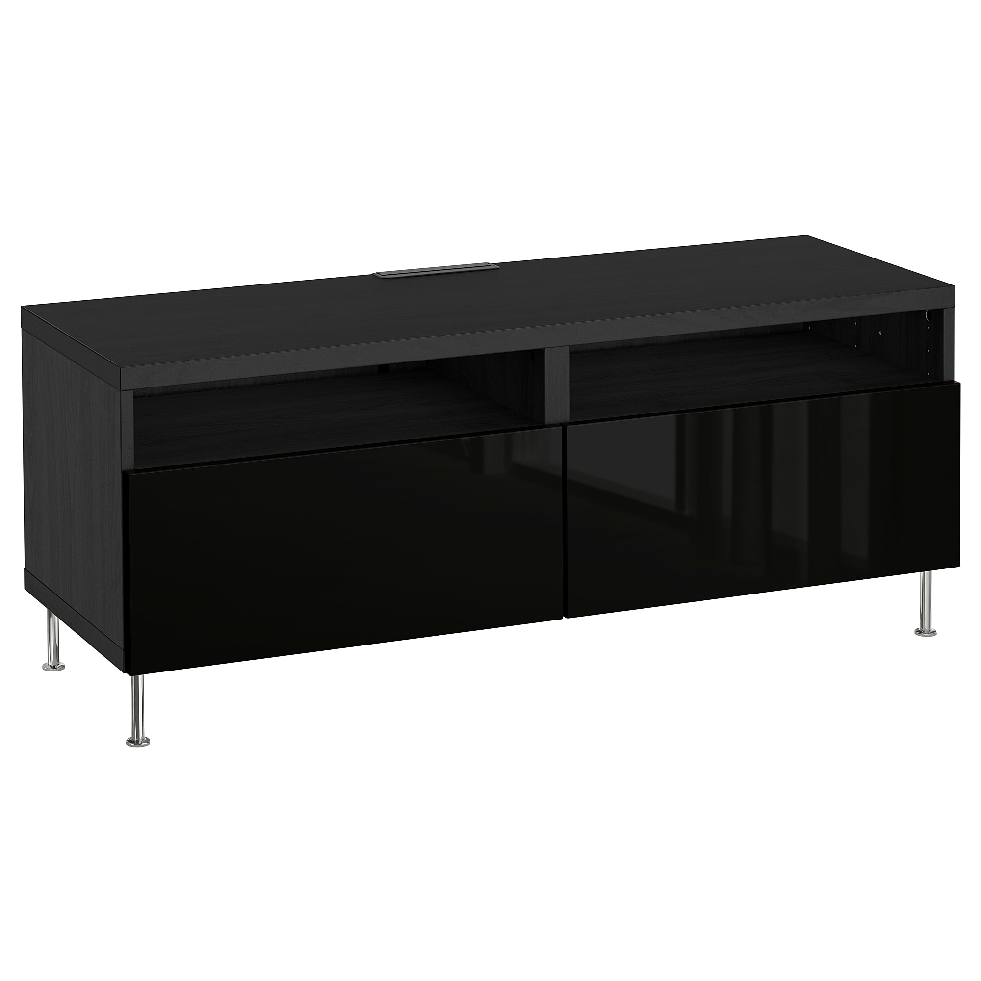 Current High Gloss Tv Benches Regarding Bestå Tv Bench With Drawers Black Brown/selsviken/stallarp High (View 14 of 20)
