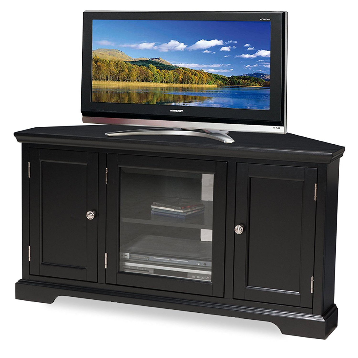 Current Leick 46 Inch Hardwood Corner Tv Stand In Black Finish, 83385 New With Regard To Black Corner Tv Cabinets (View 12 of 20)