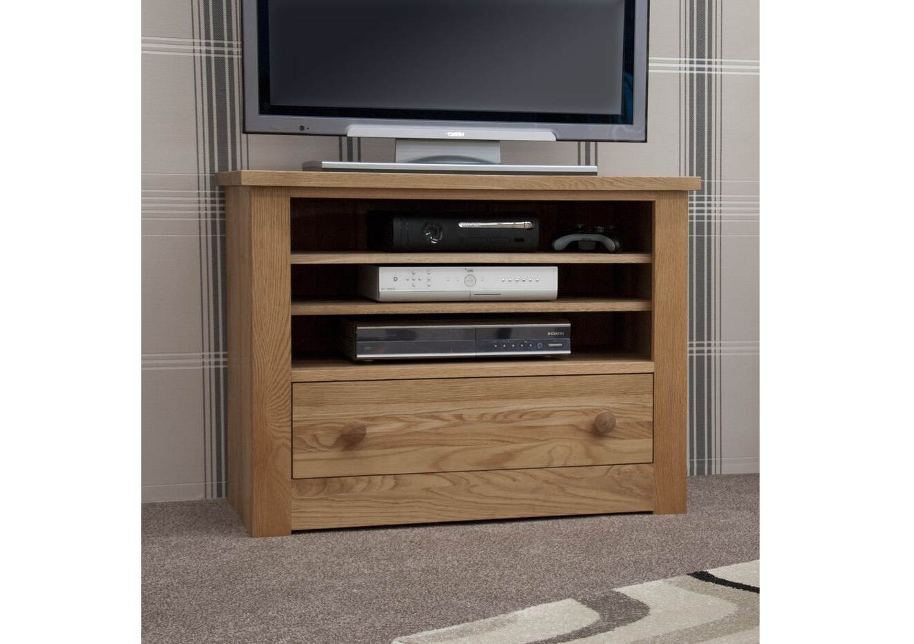 Current Light Oak Tv Cabinets Throughout Homestyle Torino Light Oak Tv Unit From The Bed Station (View 2 of 20)