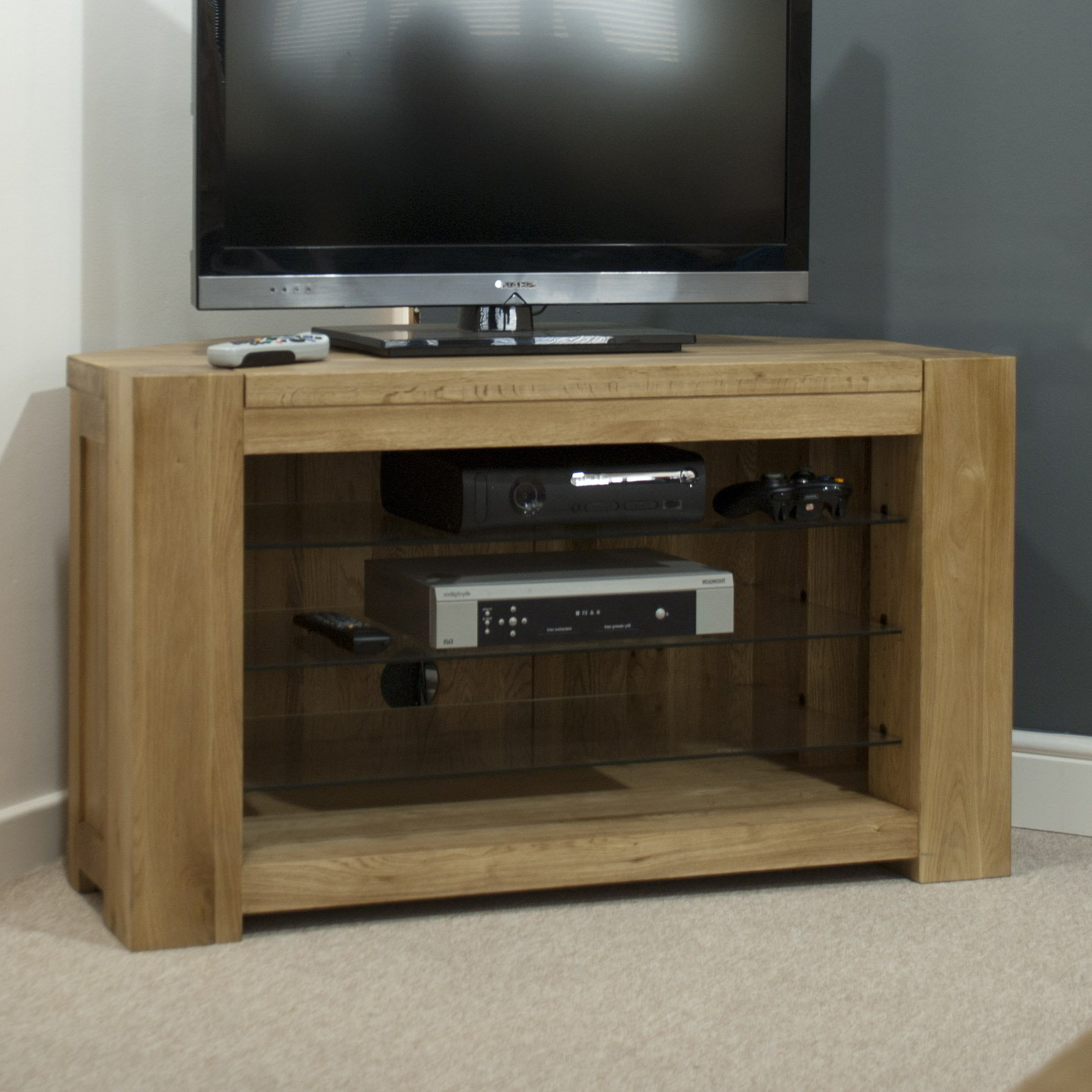 Current Oak Furniture Tv Stands Throughout Padova Solid Oak Furniture Corner Television Cabinet Stand Unit (View 5 of 20)