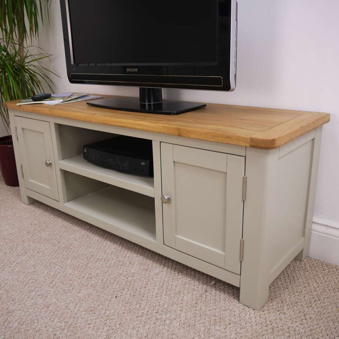 Current Painted Tv Stands With Aspen Oak Large Tv Unit / Painted Tv Stand / Sage Grey With Oak Top (Gallery 7 of 20)