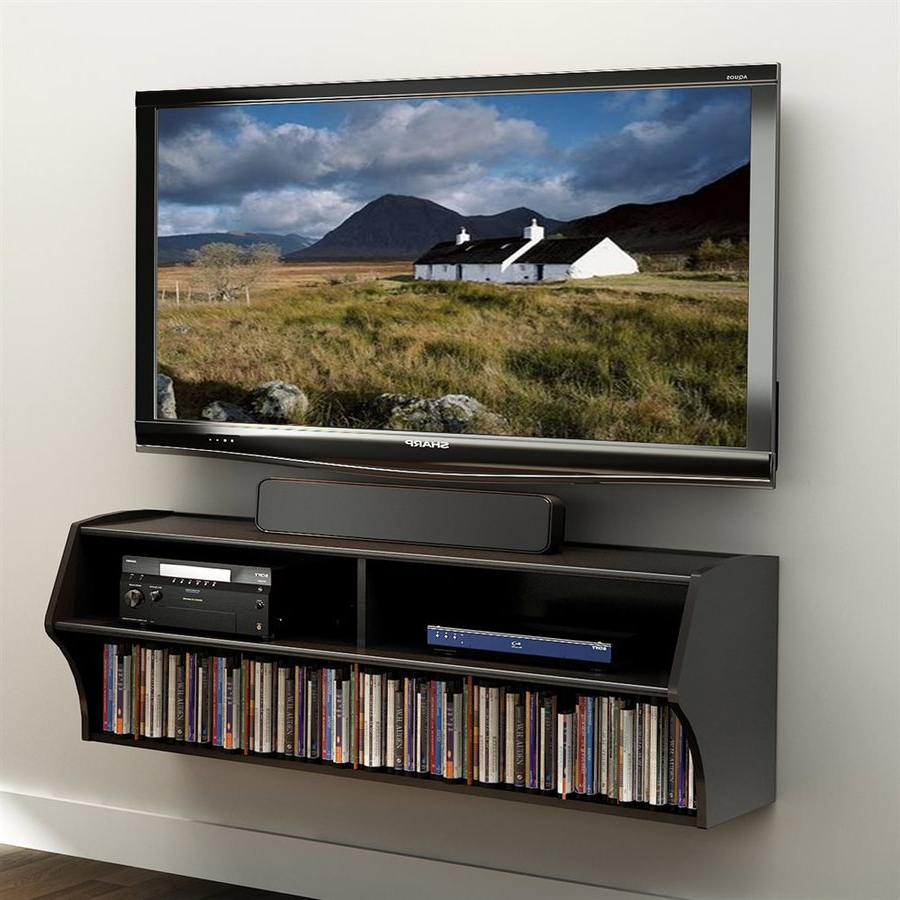 Current Prepac Altus Black Wall Mounted Tv Stand At Lowes Regarding Wall Mounted Tv Stands With Shelves (View 13 of 20)