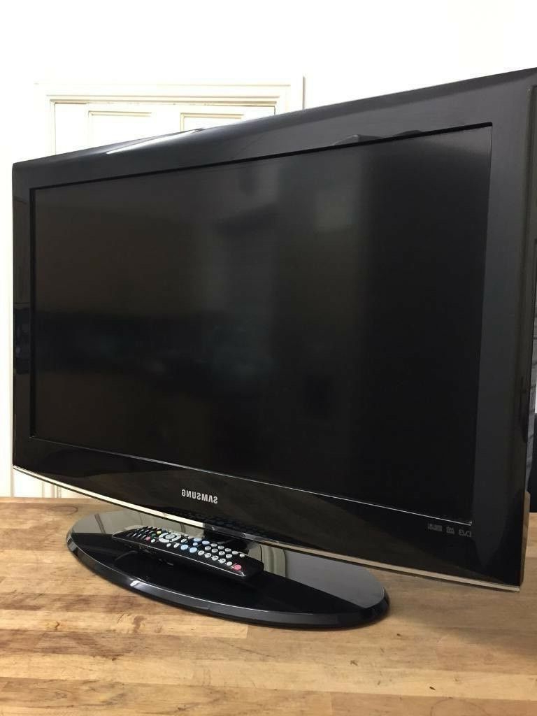 "Current Samsung 32"" Lcd Full Hd Slimline Tv Built In Freeview Remote & Stand With Regard To Slim Line Tv Stands (View 3 of 20)"