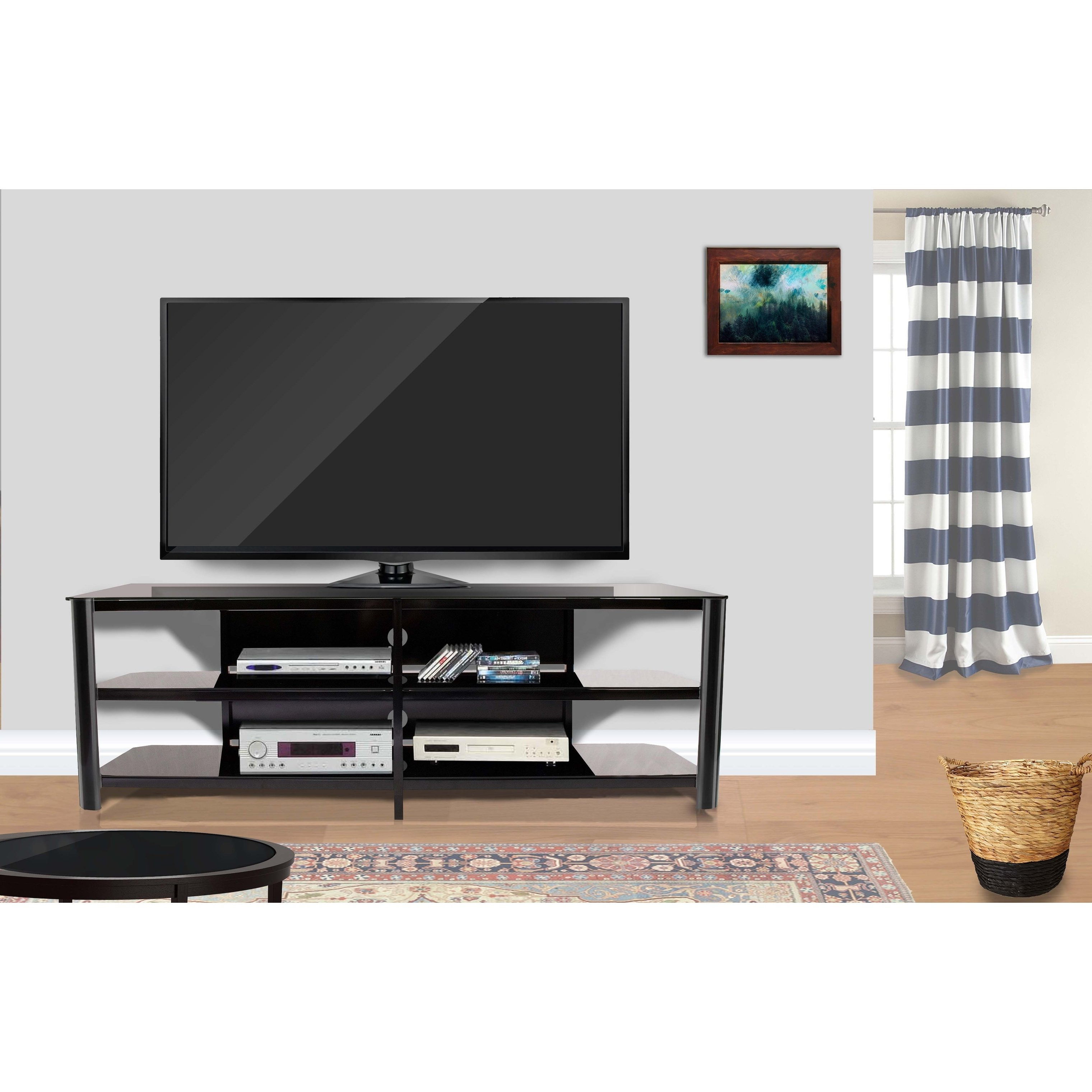 Current Shop Fold 'n' Snap Oxford Ez Black Innovex Tv Stand – Free Shipping Throughout Oxford 84 Inch Tv Stands (View 2 of 20)