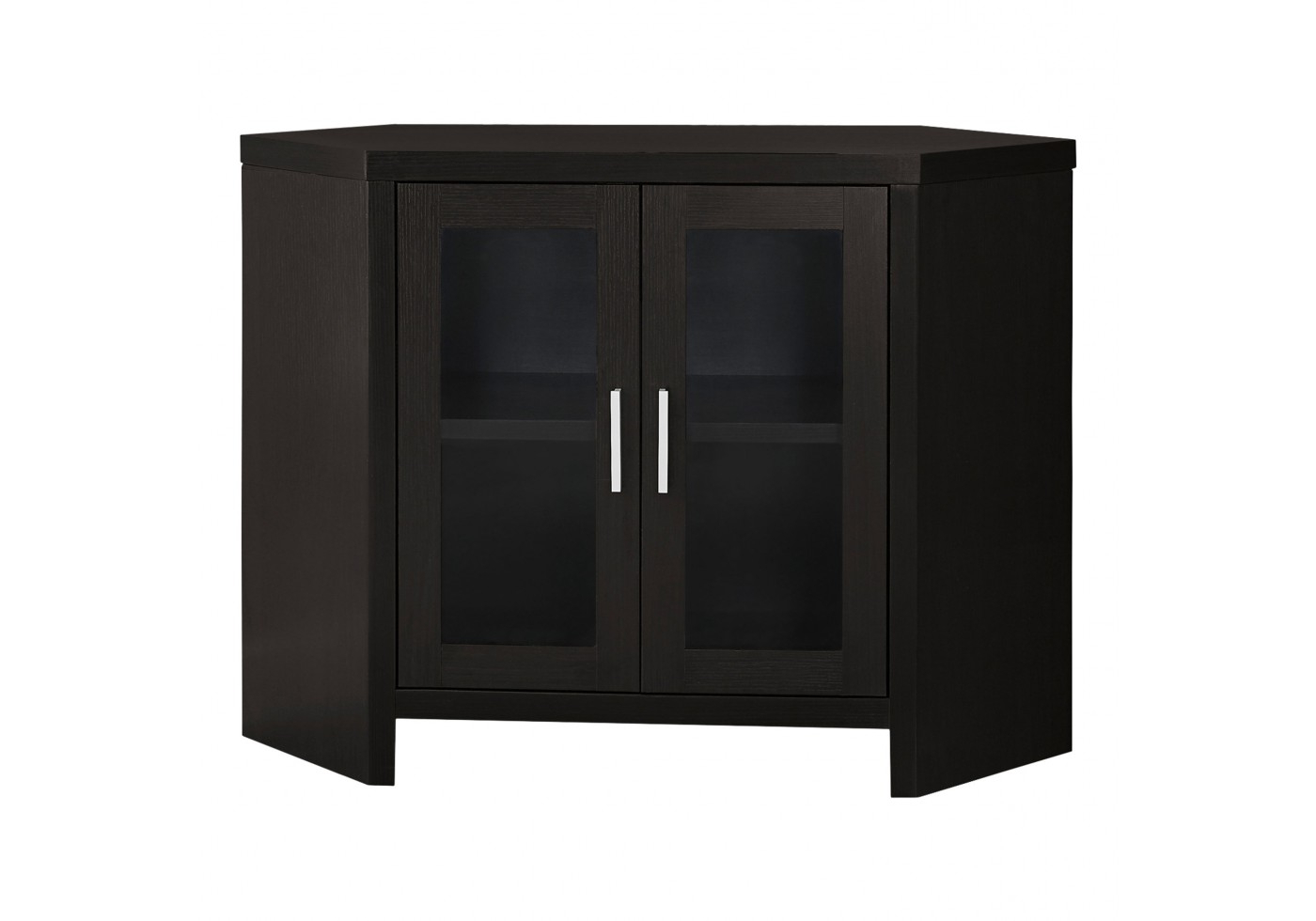 "Current Tv Stand – 42""l / Cappuccino Corner With Glass Doors Within Black Corner Tv Cabinets With Glass Doors (View 13 of 20)"
