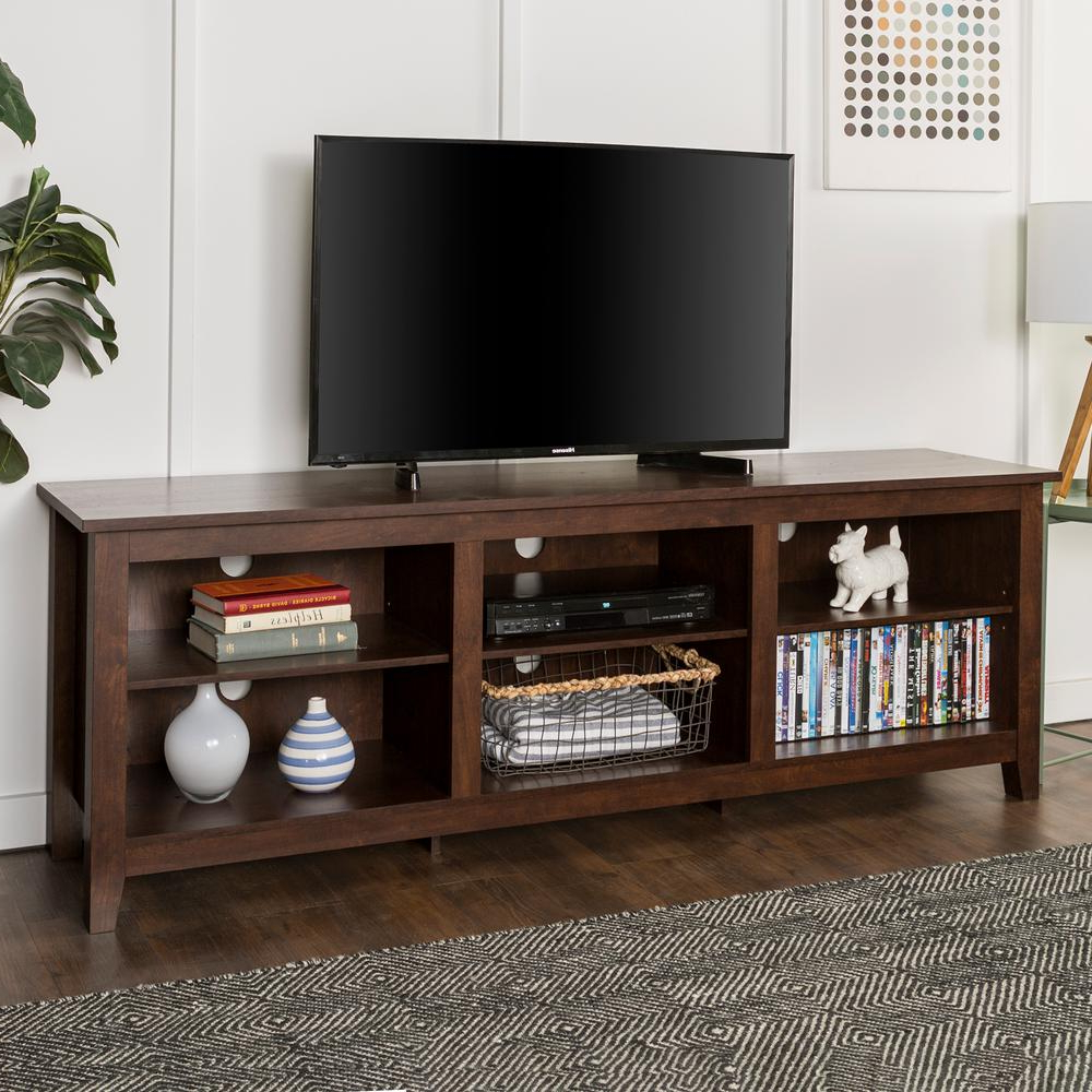 Current Tv Stands For 70 Flat Screen Pertaining To Walker Edison Furniture Company 70 In. Wood Media Tv Stand Storage (Gallery 10 of 20)