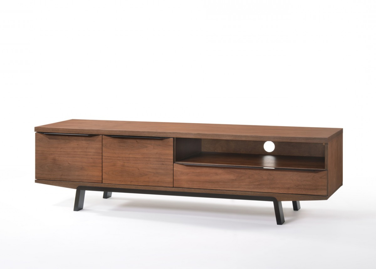 Current Walnut Tv Stands Throughout Modern Natural Walnut Tv Stand With Black Legs (View 5 of 20)