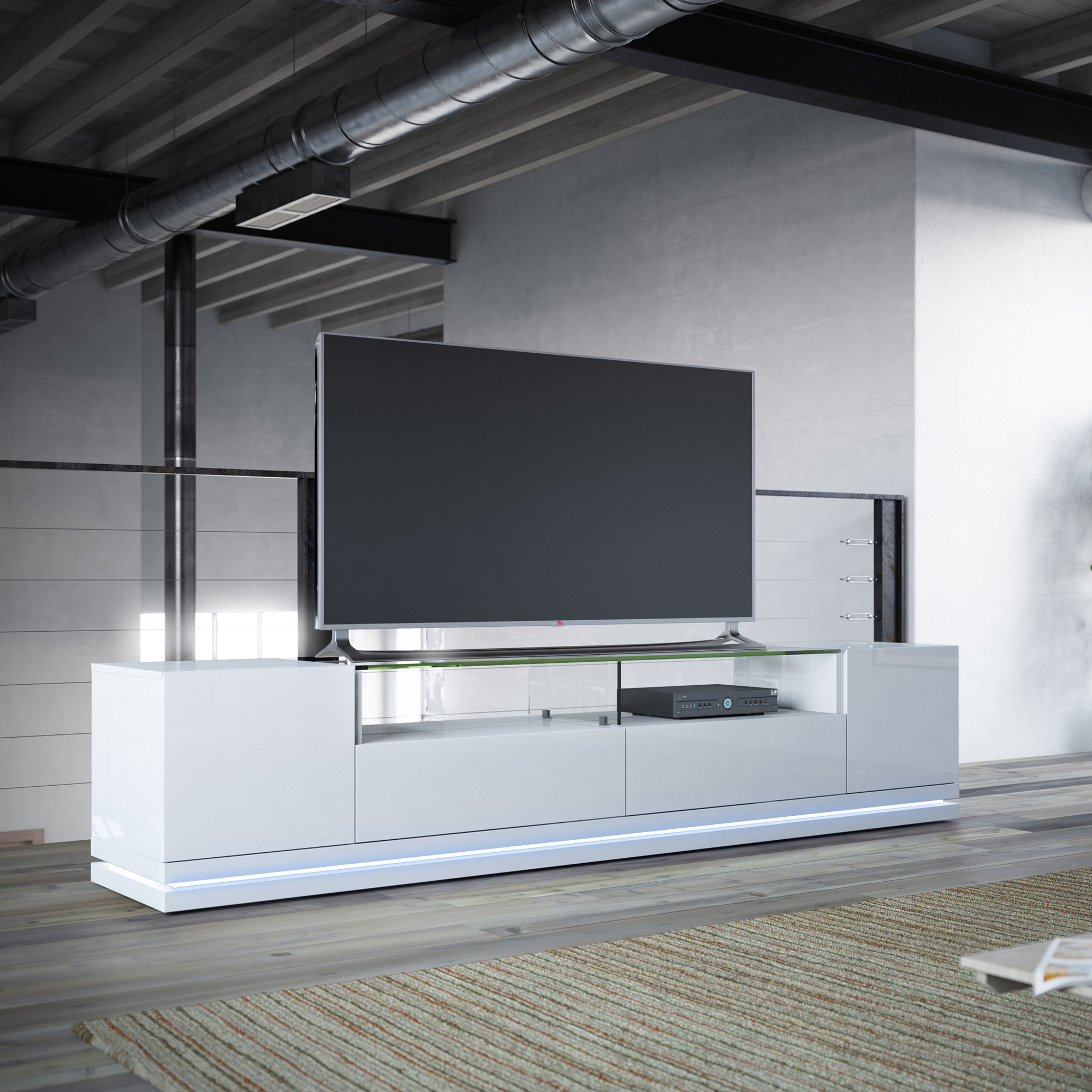 Current White Gloss Tv Benches Intended For Vanderbilt White Gloss Tv Stand W/led Lightsmanhattan Comfort (Gallery 15 of 20)