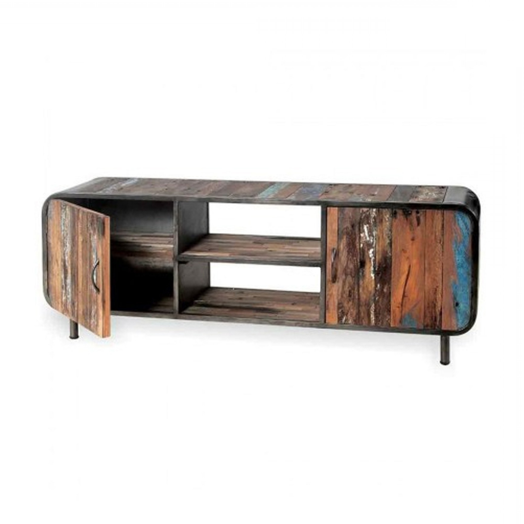Current Wooden Tv Stands With Doors For Boat Wood Tv Unit – Tv Stand With Doors & Shelves (Gallery 3 of 20)