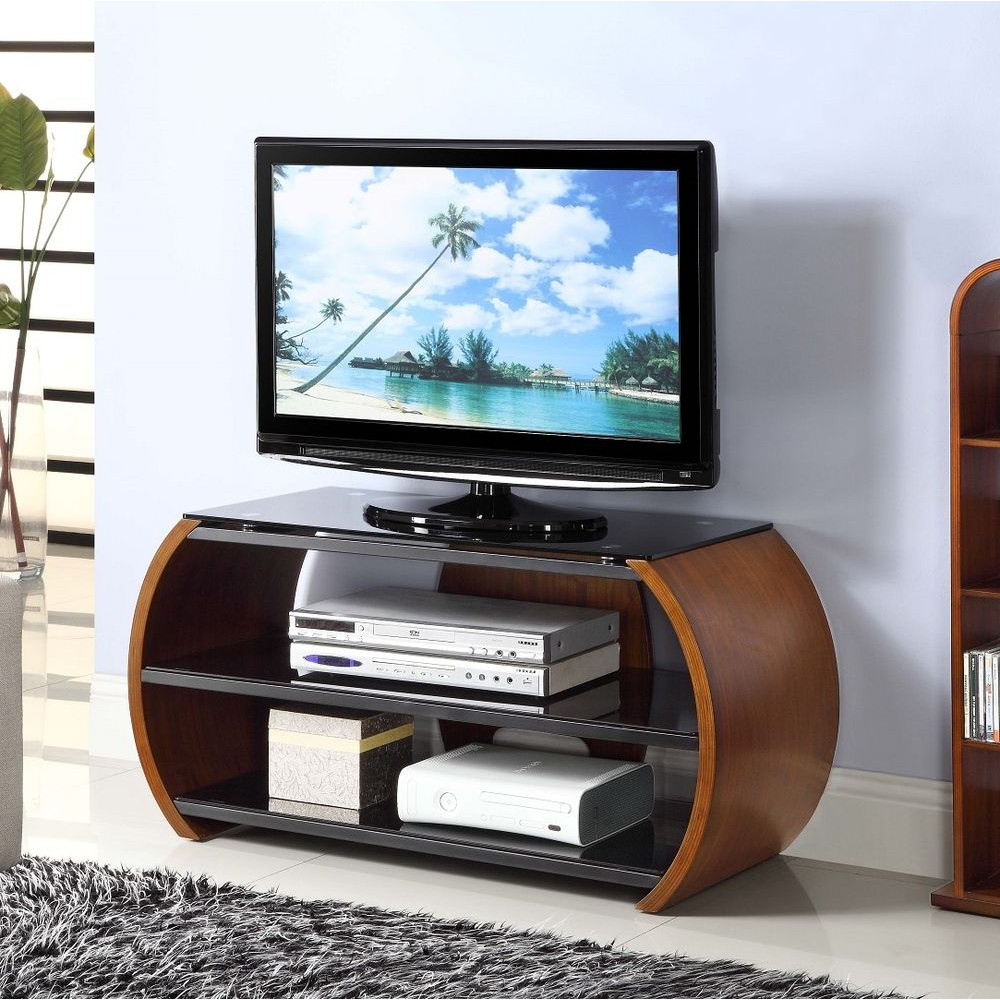 Curve Tv Stands Inside Current Walnut Dark Wooden Curved Tv Stand Modern Storage Glass (View 5 of 20)
