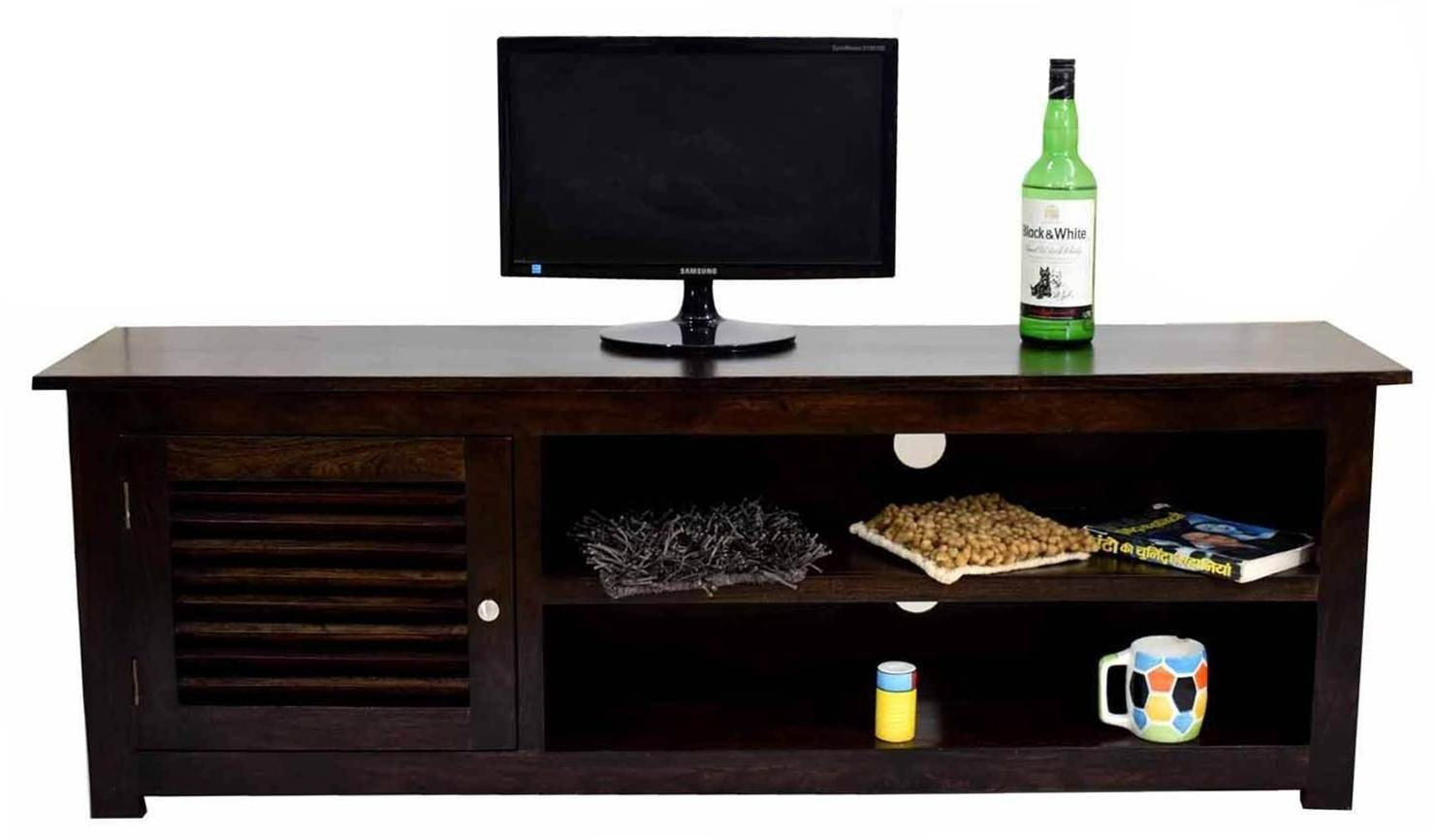 Daintree Dyna Solid Wood Tv Entertainment Unit (dark Walnut Finish Intended For Favorite Daintree Tv Stands (View 7 of 20)