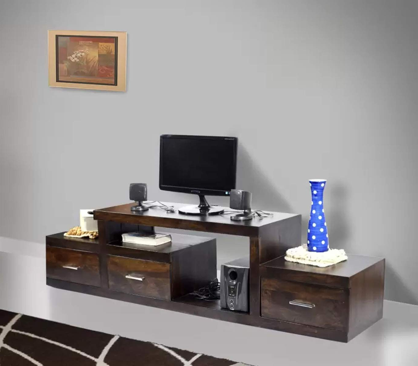 Daintree Nadia Tv Unit Cabinet (Lacquer Finish, Dark Walnut): Amazon Within Most Current Daintree Tv Stands (View 5 of 20)
