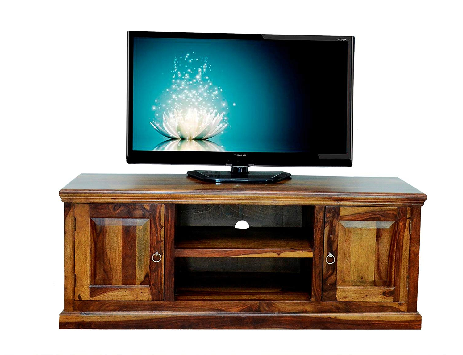Daintree Tv Stands Within Favorite Buy Sandeep Furniture Pure Sheesham Wood Brown Tv Stand Storage (View 14 of 20)