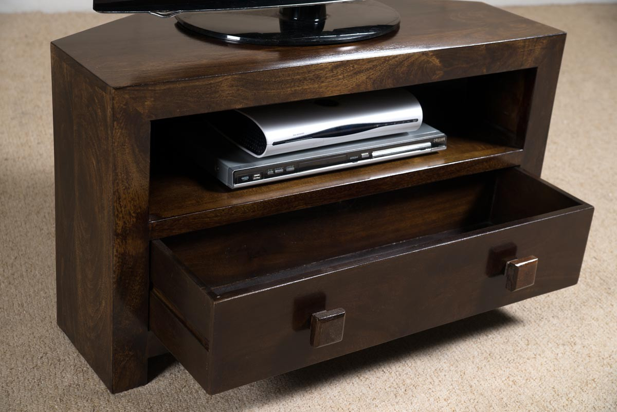 Dakota Dark Mango Small Corner Tv Stand For Most Recently Released Wood Corner Tv Cabinets (View 7 of 20)
