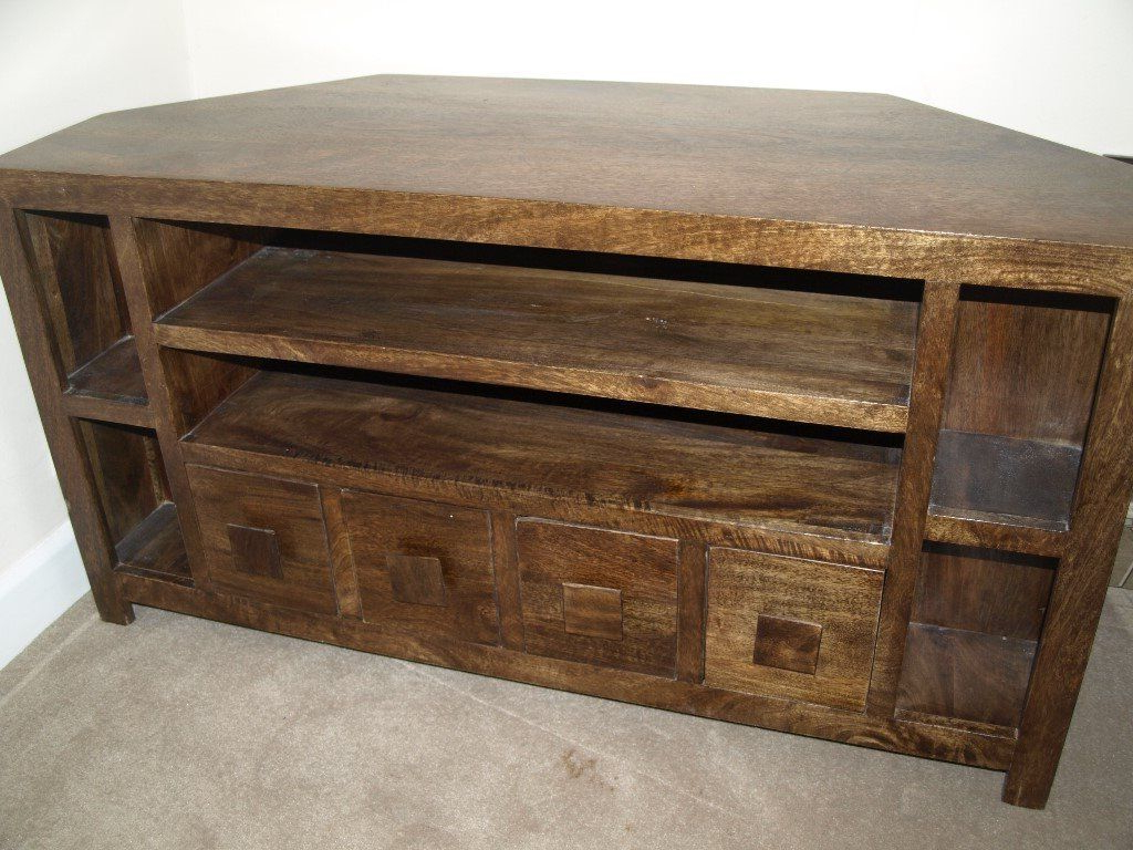 Dakota Dark Wood Corner Tv Unit (View 3 of 20)