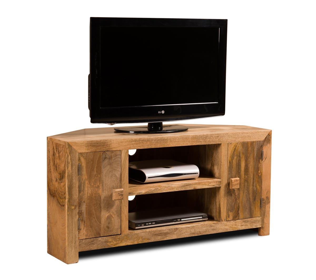 Dakota Light Mango Corner Tv Unit Cabinet Shelves Solid Wood Indian Pertaining To Most Current Solid Wood Corner Tv Cabinets (View 5 of 20)