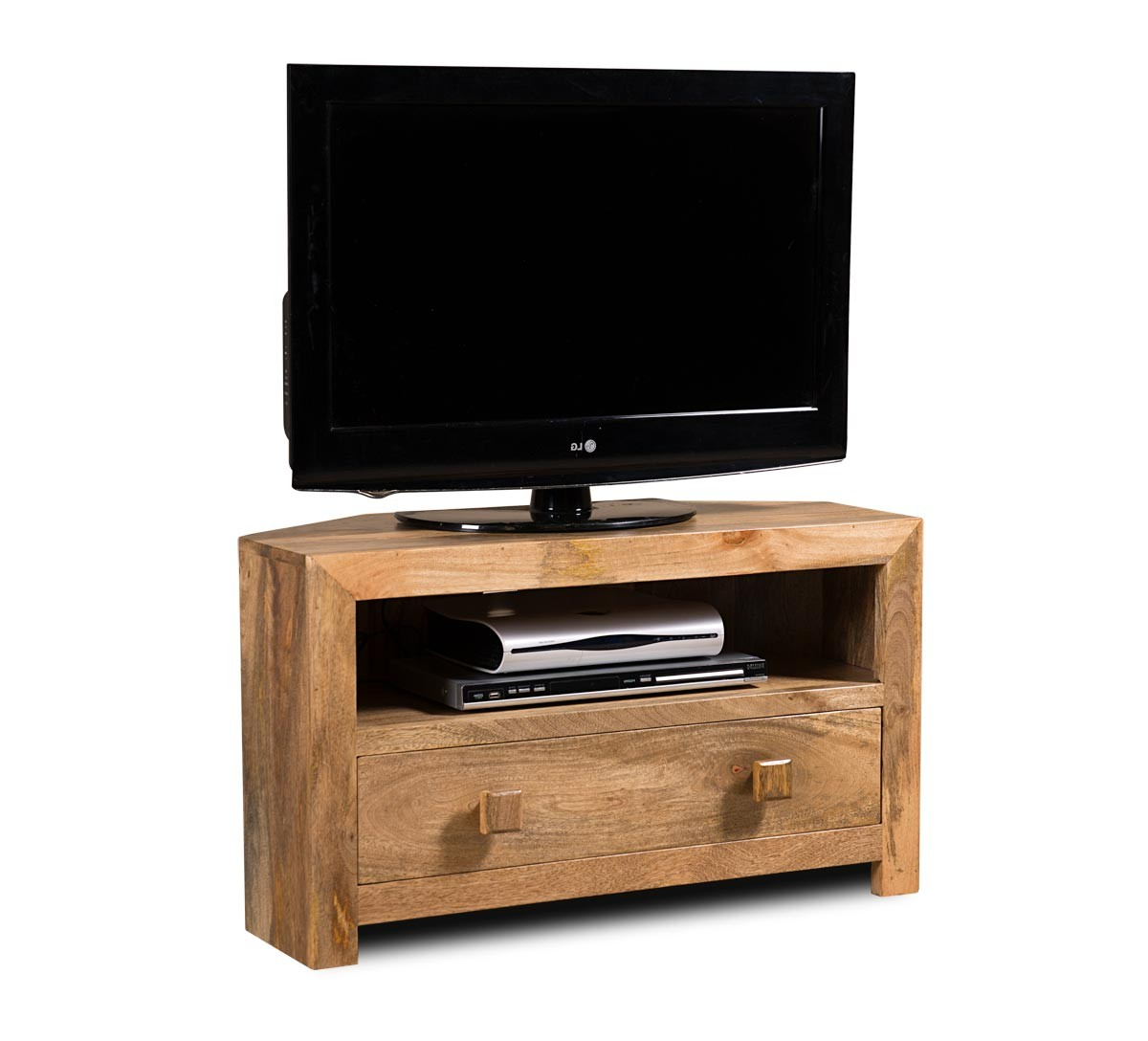 Dakota Light Mango Small Corner Tv Stand (Gallery 5 of 20)