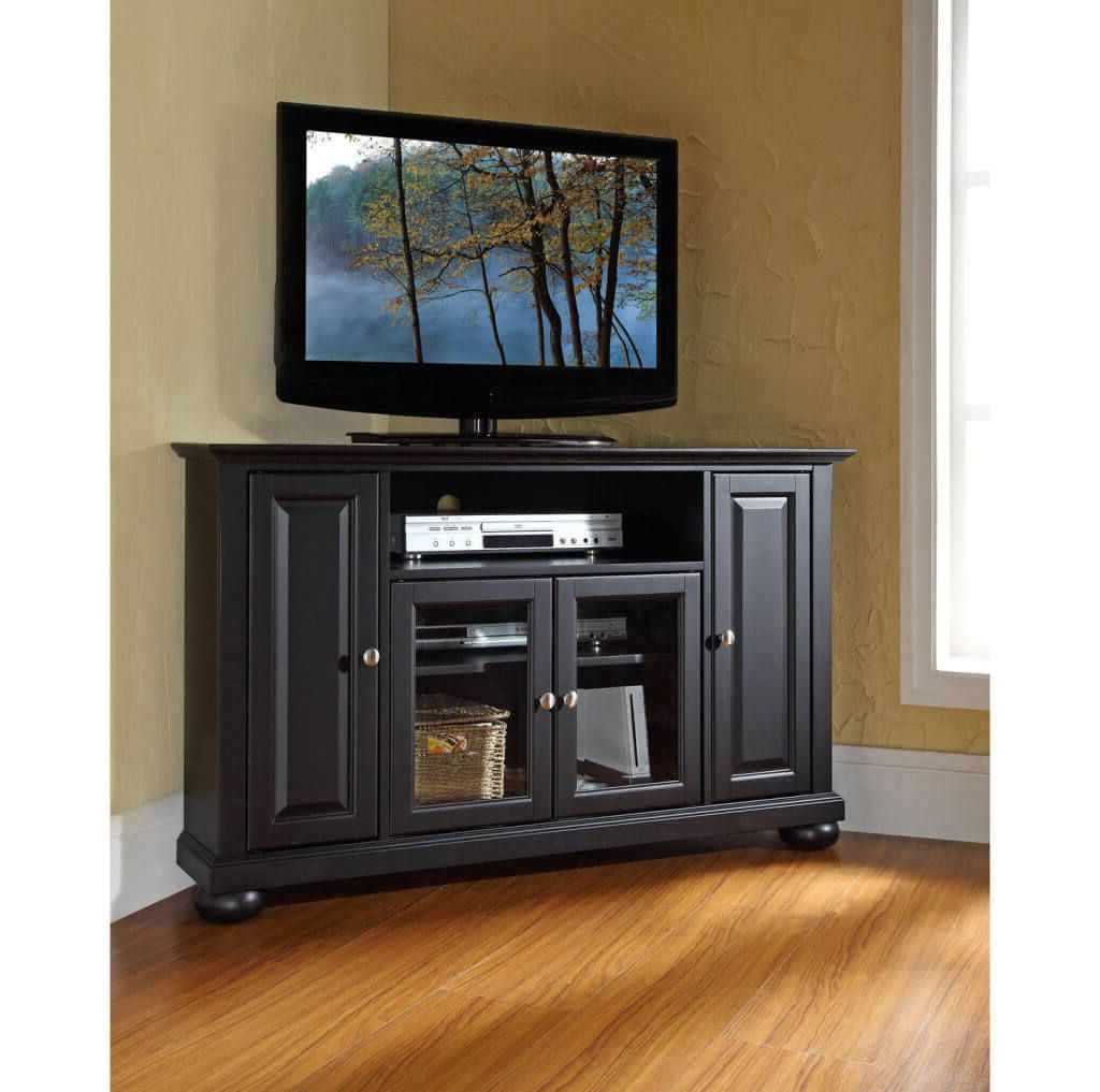 Dark Brown Corner Tv Stands For 2017 Furniture: Classic Dark Brown Corner Tv Stand With 2 Side Cabinets (View 2 of 20)