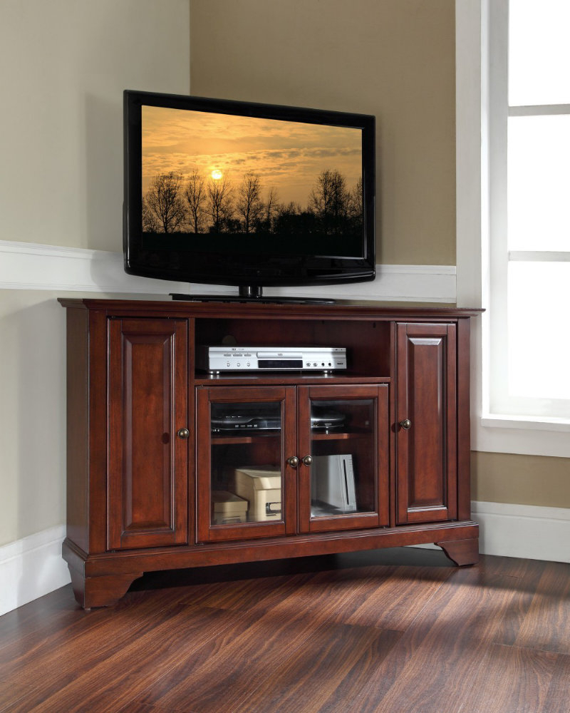 Dark Tv Stands Brown Finished Wooden Table With Under Gldoor Rack Pertaining To Most Current Wooden Tv Stands And Cabinets (View 4 of 20)