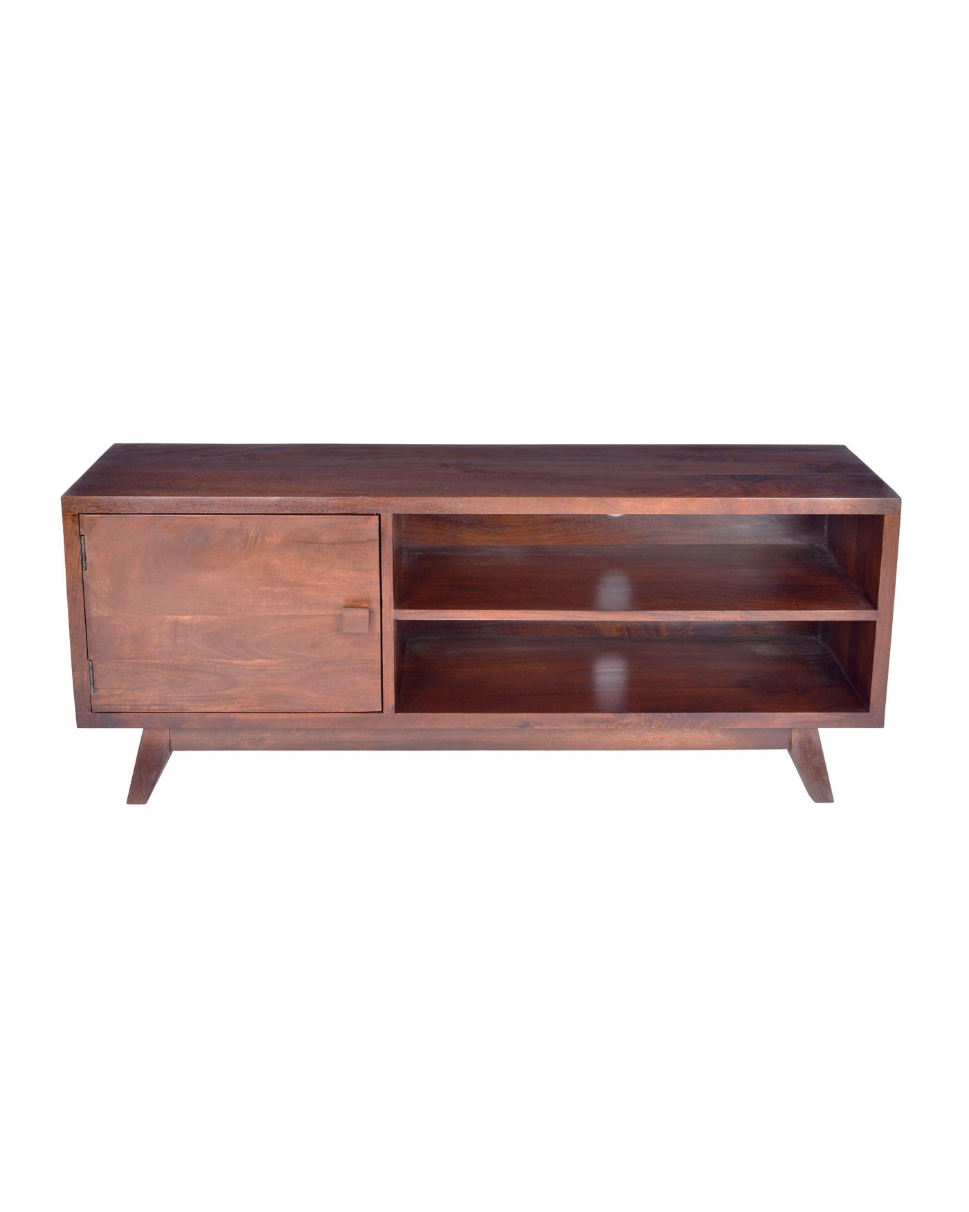 Dark Tv Stands Wood Stand With Shelf Retro Design 100 Solid Oak Intended For Newest Dark Tv Stands (View 9 of 20)