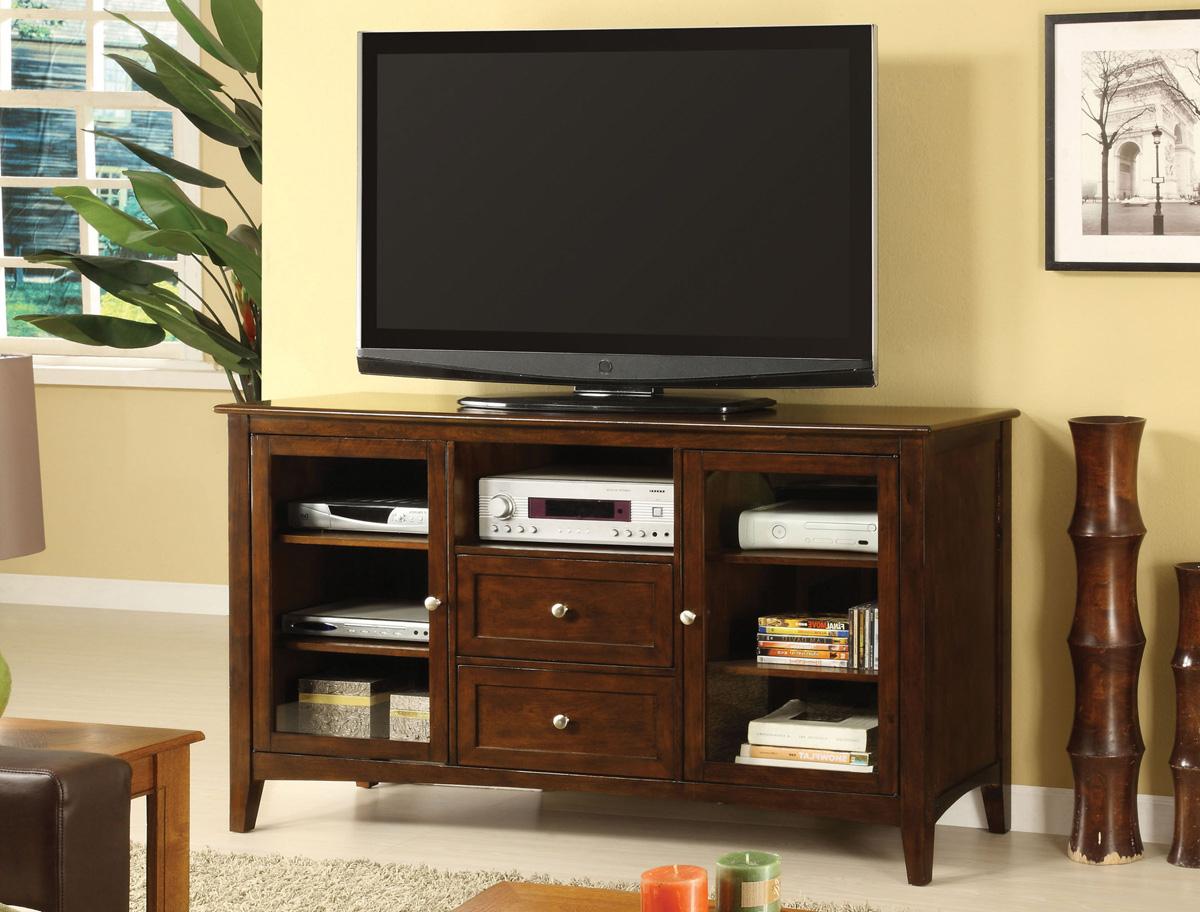 Dark Walnut Finish Tv Stand – Caravana Furniture For Well Liked Dark Walnut Tv Stands (View 3 of 20)