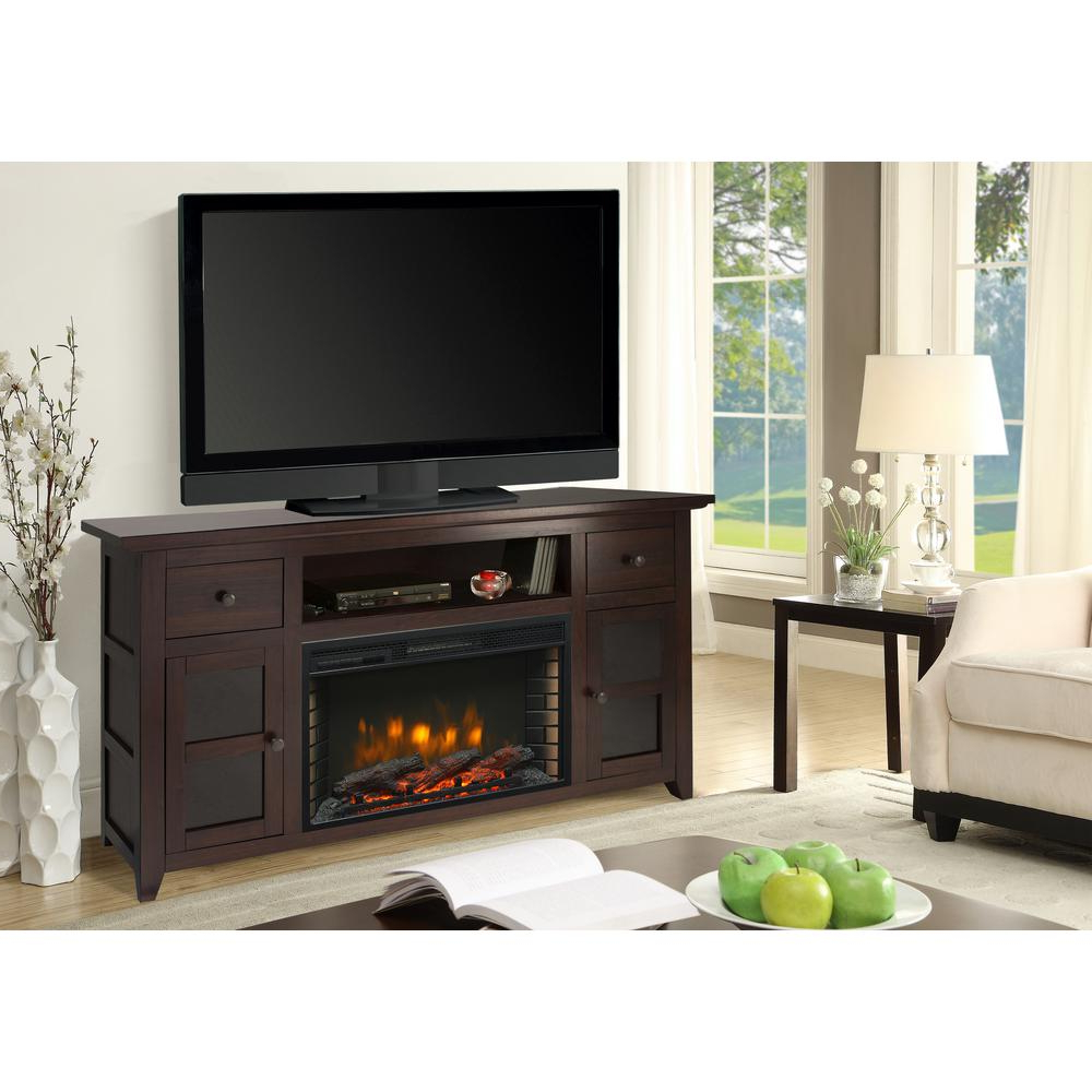 Dark Walnut Tv Stands In Preferred Muskoka Winchester 56 In. Freestanding Electric Fireplace Tv Stand (Gallery 7 of 20)