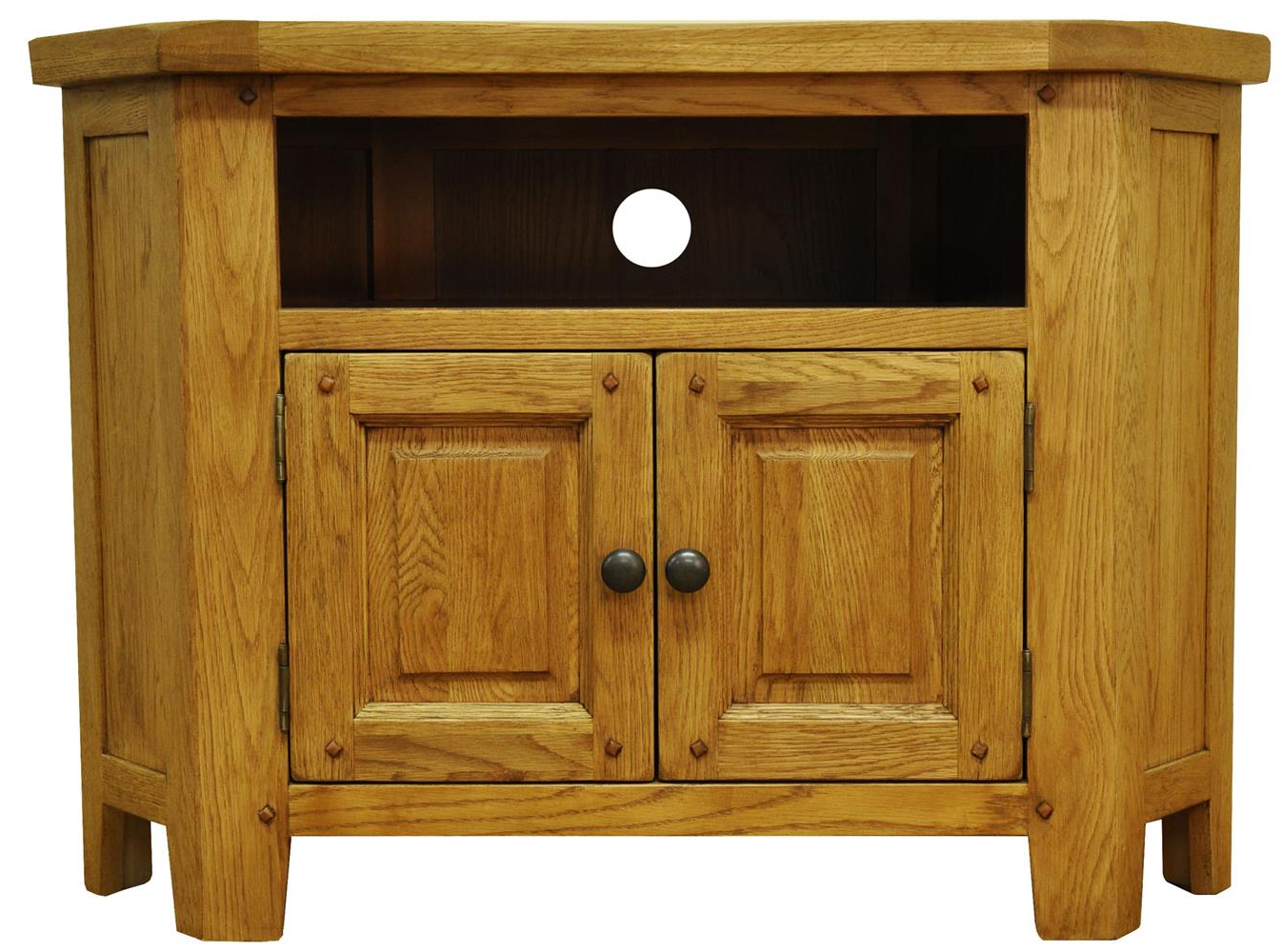 Dark Wood Corner Tv Cabinets Regarding Most Up To Date Tv Cabinets : Stanton Rustic Oak Corner Tv Unitstanton Rustic Oak (Gallery 4 of 20)