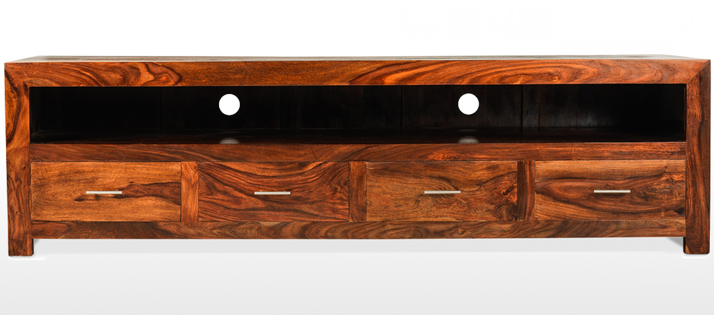 Dark Wood Tv Cabinets Intended For Recent Cube Sheesham Long Plasma Tv Cabinet (View 11 of 20)