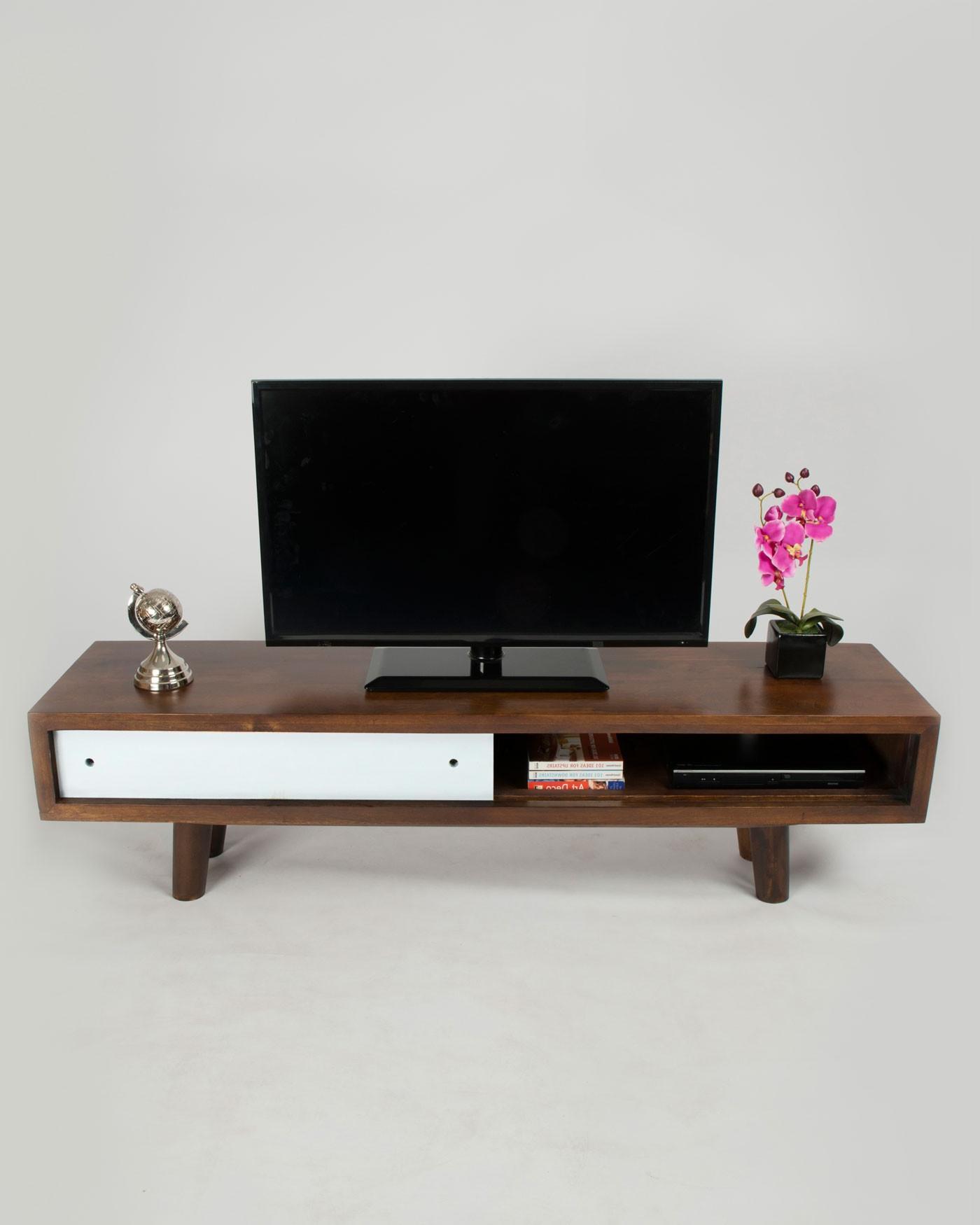 Dark Wood Tv Stands Regarding Favorite Retro Mid Century Dark Wood Tv And Media Unit With White Sliding (Gallery 14 of 20)