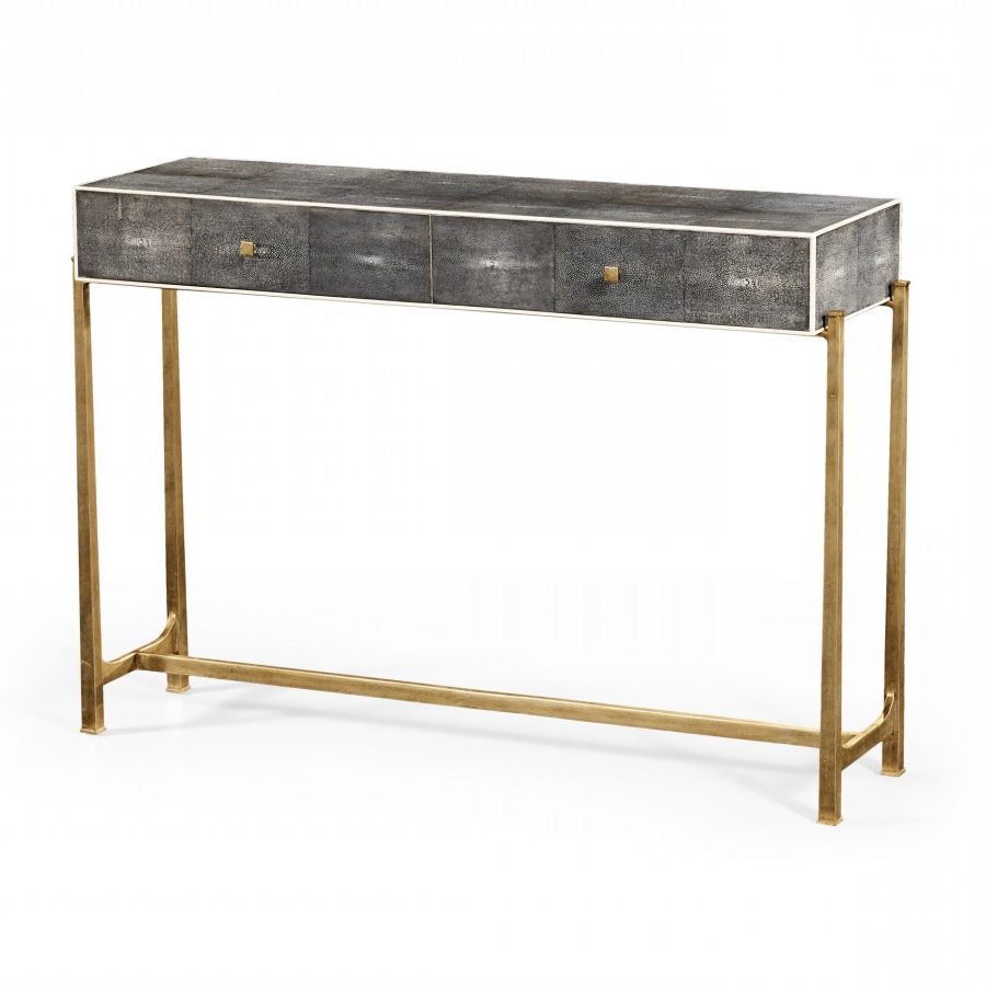 Decor Market – Faux Anthracite Shagreen Console Table With Gilt Base Regarding Well Liked Faux Shagreen Console Tables (Gallery 2 of 20)