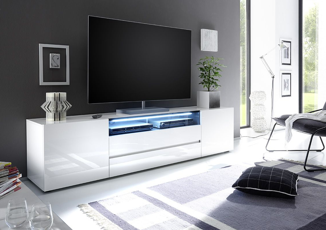 Design Tv Wall In White Contemporary Tv Stands (View 2 of 20)