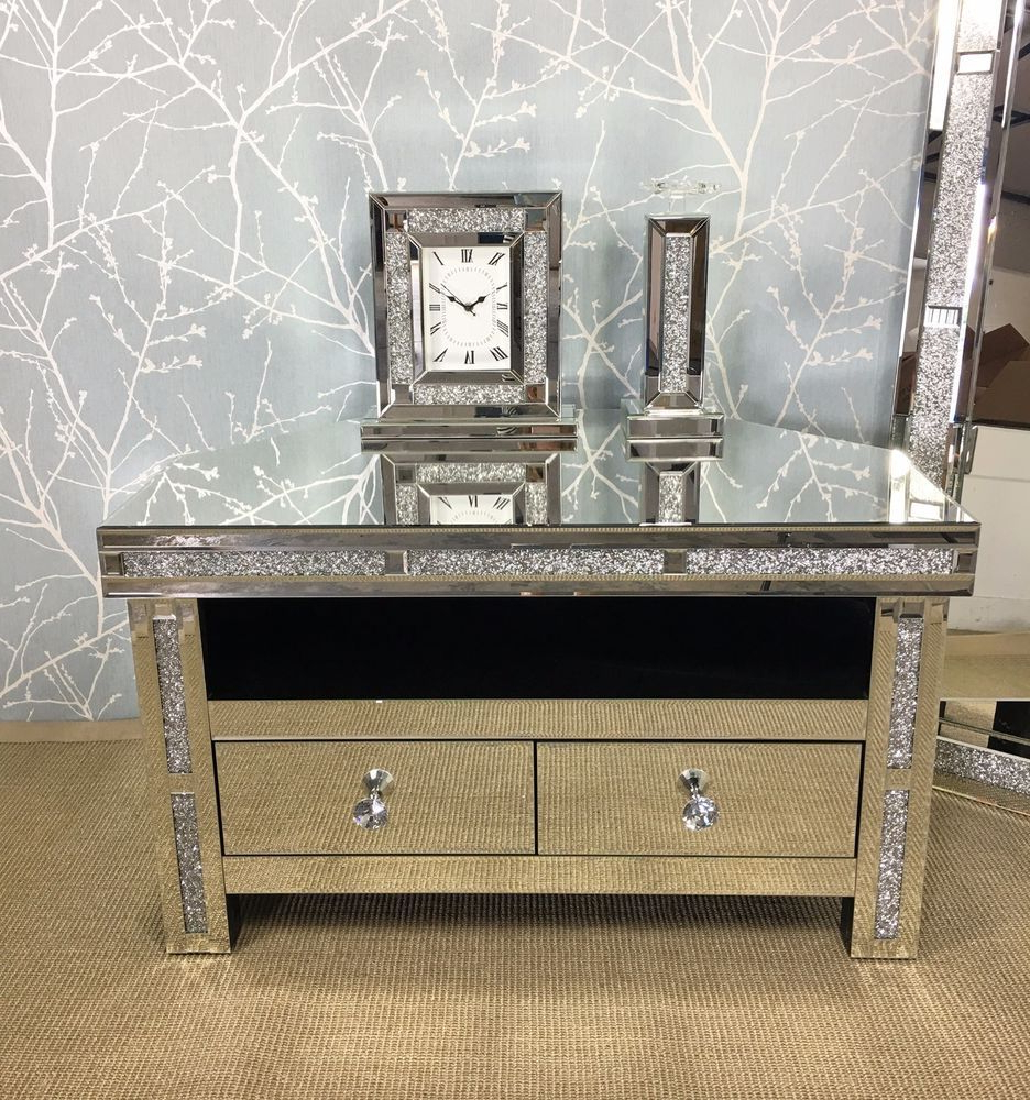 Diamond Glitz Sparkly Silver Mirrored Glass Crystal Corner Tv For Newest Mirror Tv Cabinets (View 3 of 20)