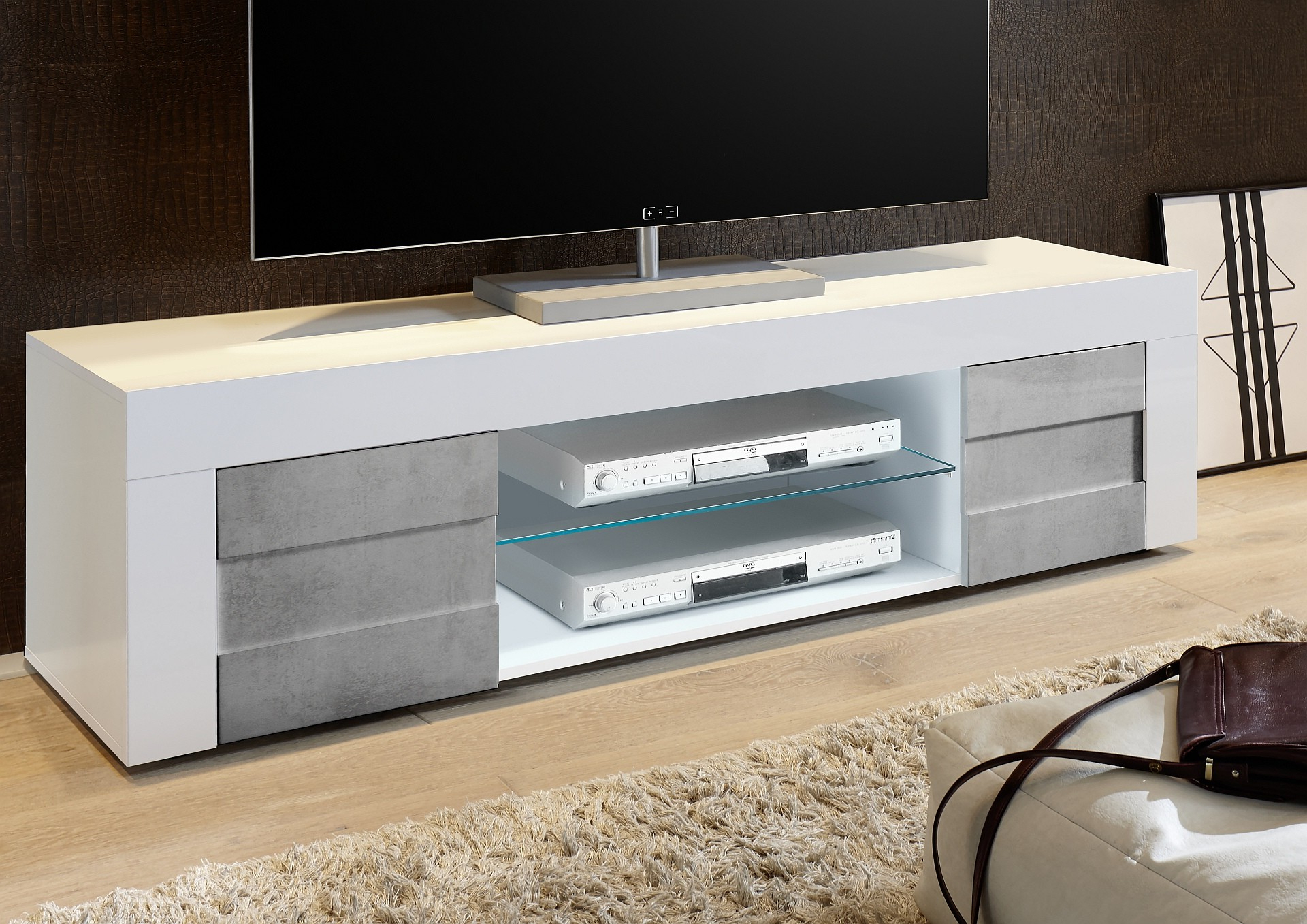 Dionne White Gloss & Concrete Tv Stand 181Cm In Famous White Gloss Tv Benches (Gallery 19 of 20)