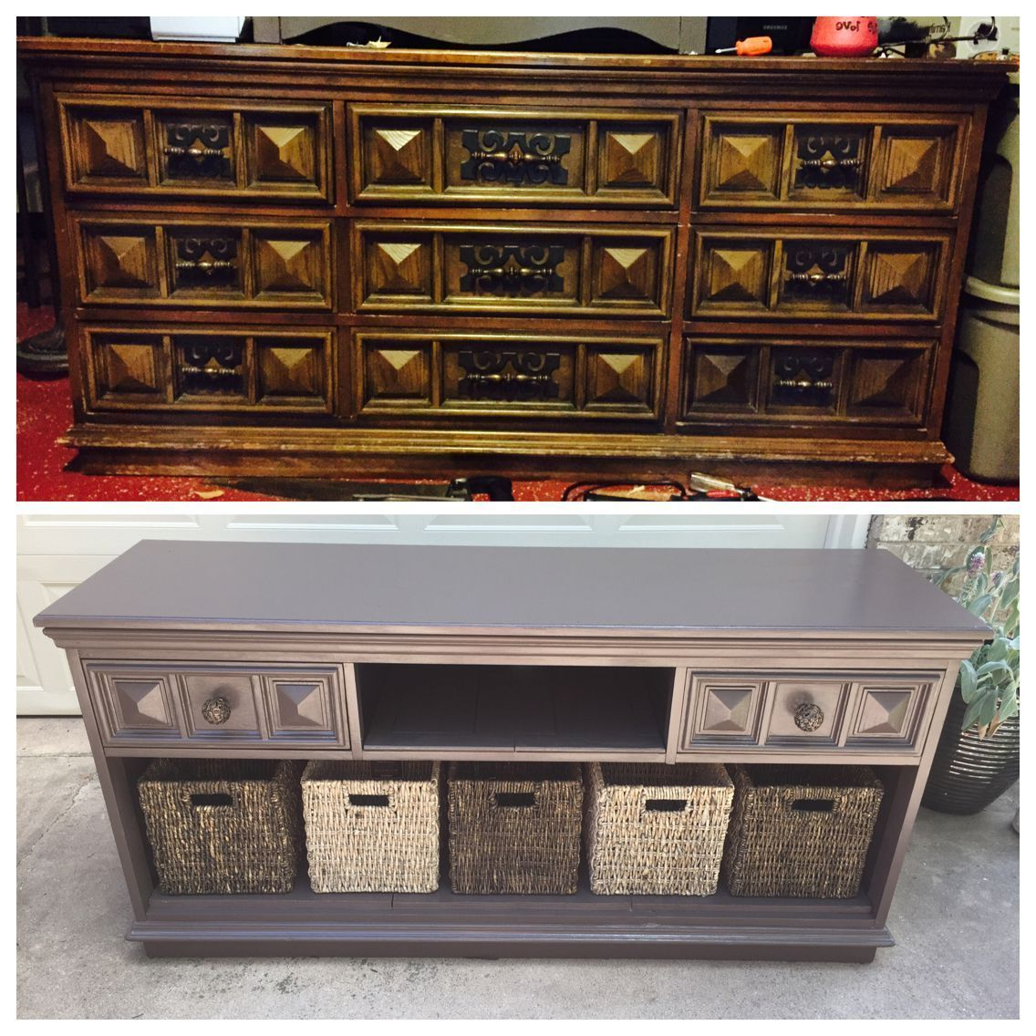 Diy: Old Dresser Turns Into A Beautiful Tv Stand! Only Real Cost Is Regarding Well Known Tv Stands With Baskets (Gallery 14 of 20)
