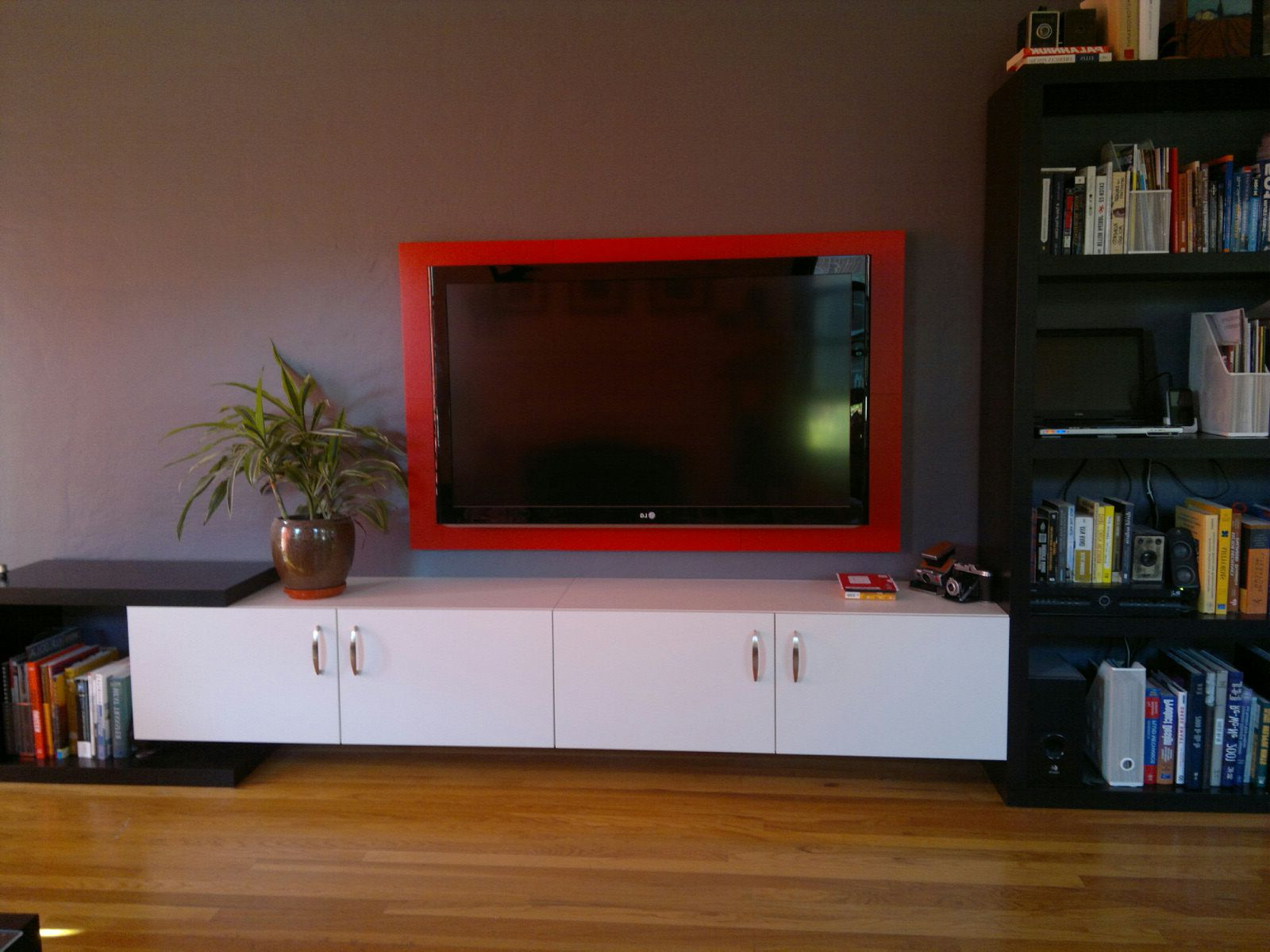Diy Solution For Hiding The Gap Between Your Tv And The Wall When For Best And Newest Raven Grey Tv Stands (Gallery 17 of 20)