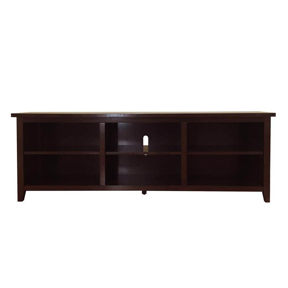 Donnieann Brookdale Dark Walnut Tv Stand (Fits Tvs Up To 80 In Regarding Most Current Walnut Tv Cabinets (View 4 of 20)