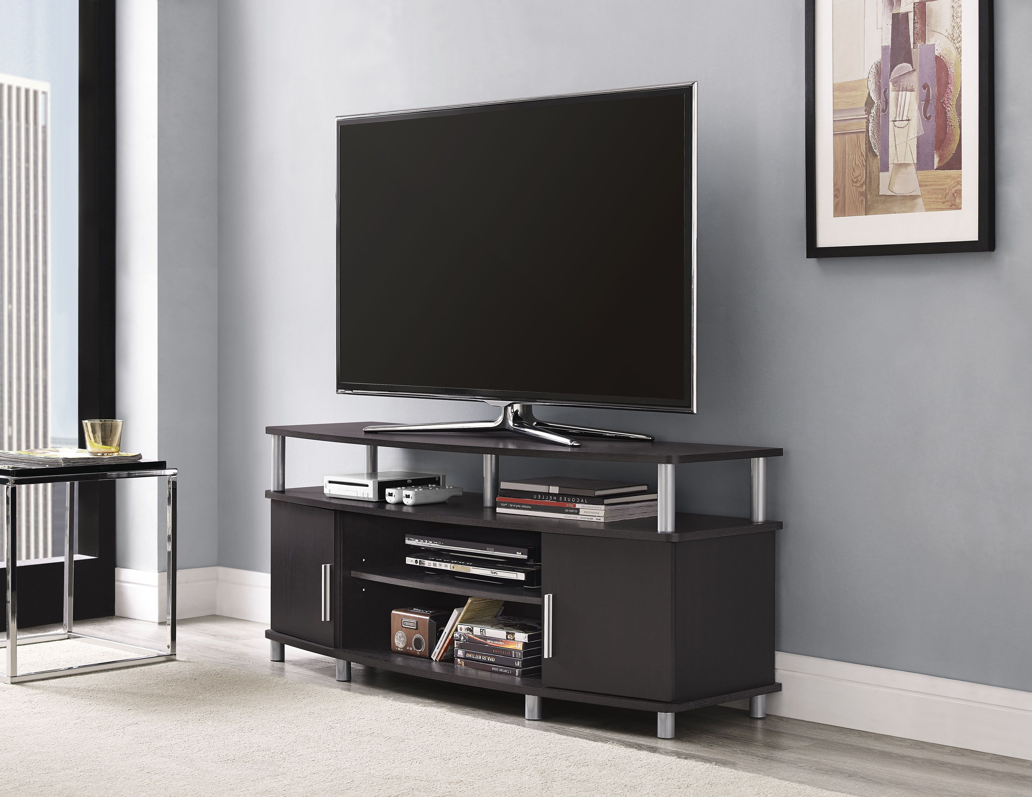 Dorel Home Furnishings Carson Tv Stand Multiple Colors, Black/red Within Well Known Red Modern Tv Stands (Gallery 12 of 20)