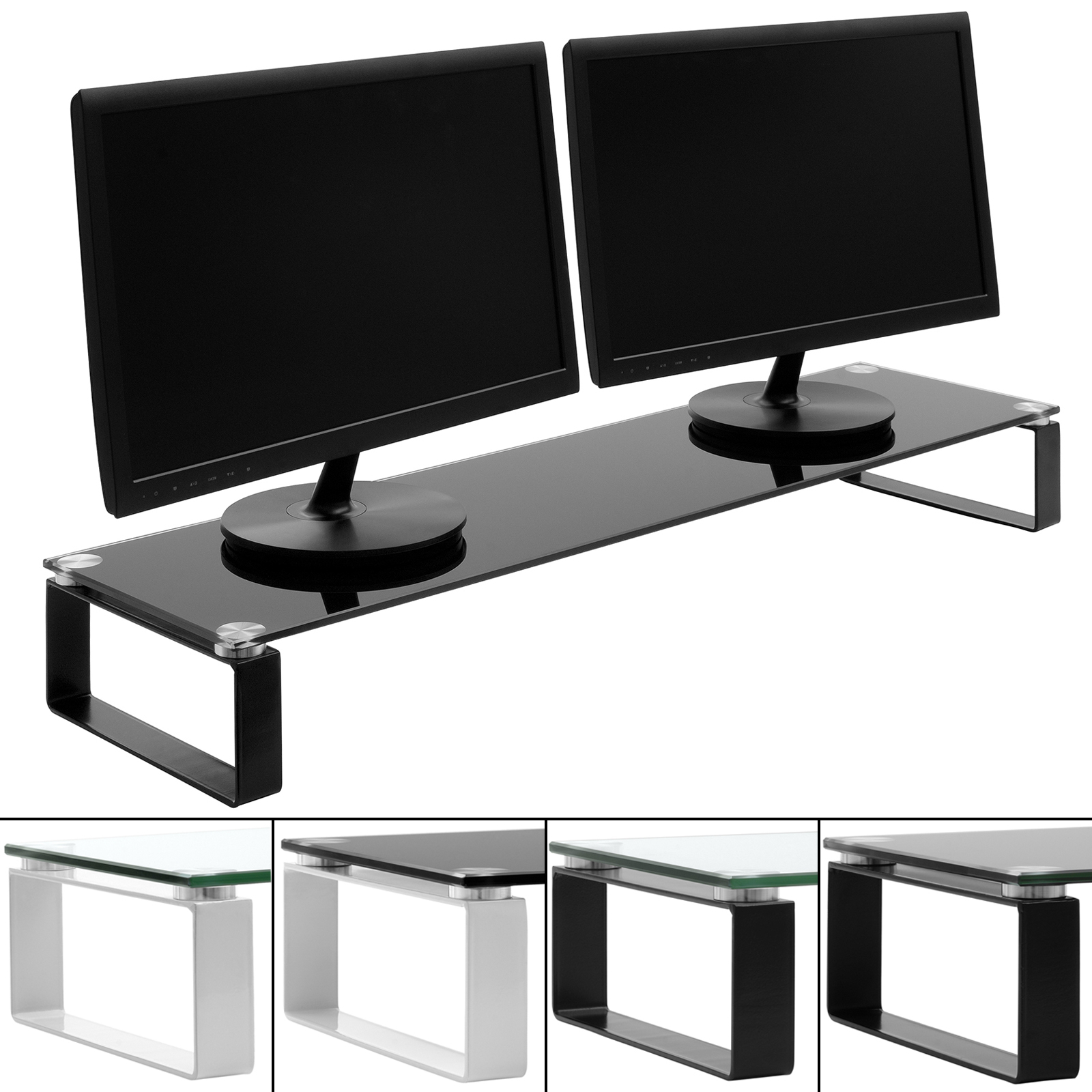 Double Tv Stands Throughout Recent X Large Double Monitor/screen Riser Block Shelf Computer/imac Tv (Gallery 1 of 20)