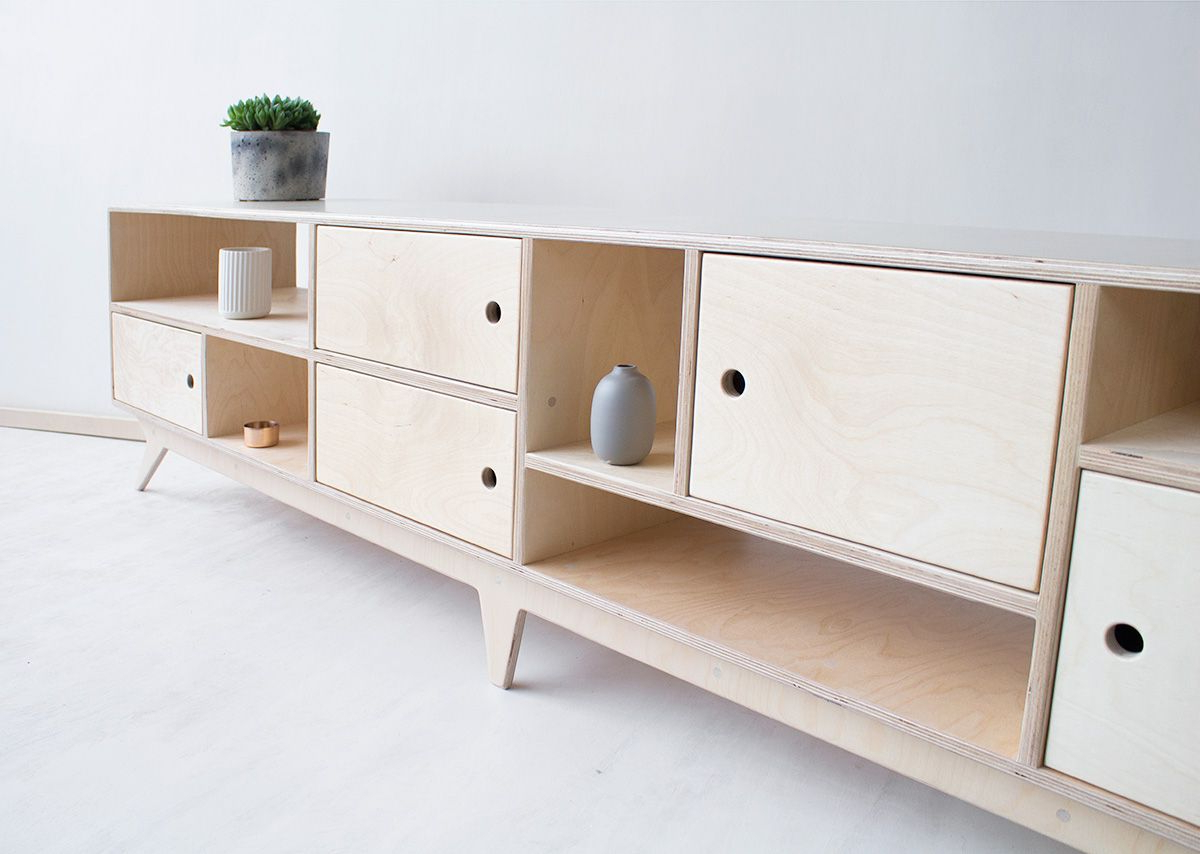 Drupal.long Plywood Tv Cabinet / Handmade Tv Console & Bookcase Inside Current Scandinavian Design Tv Cabinets (Gallery 13 of 20)