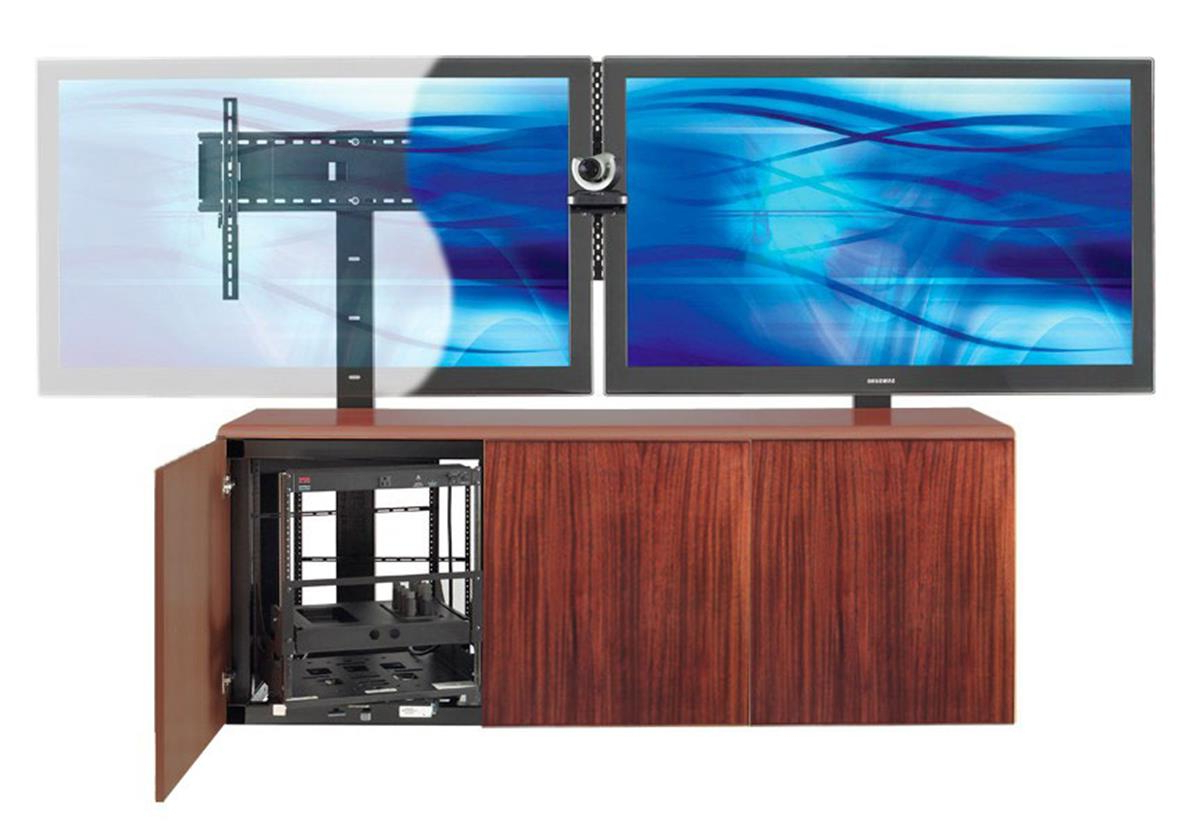 Dual Tv Stands Pertaining To Well Known Contemporary Dual Mount Tv Stand W/ Mahogany Veneer Storage Area (Gallery 9 of 20)
