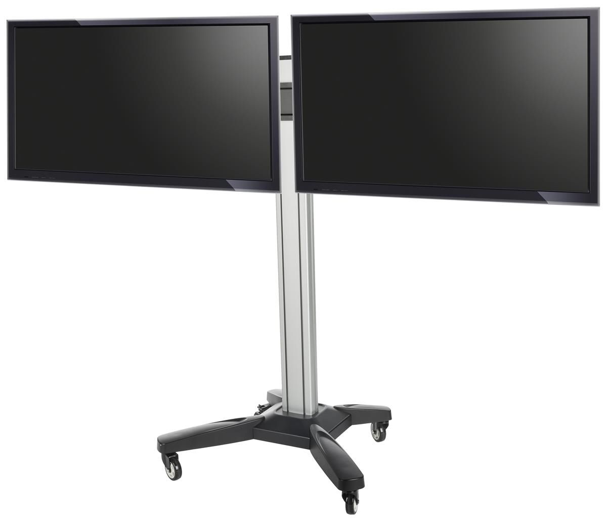 "Dual Tv Stands Within Most Recently Released Dual Tv Stand, Fits (2) 37"" 60"" Monitors Sideside, Wheeled Base (Gallery 6 of 20)"