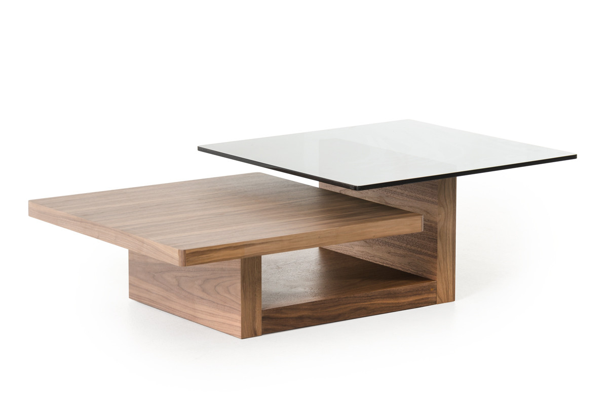Echelon Console Tables Regarding 2018 Modrest Echelon Mid Century Walnut And Smoked Glass Coffee Table (Gallery 14 of 20)