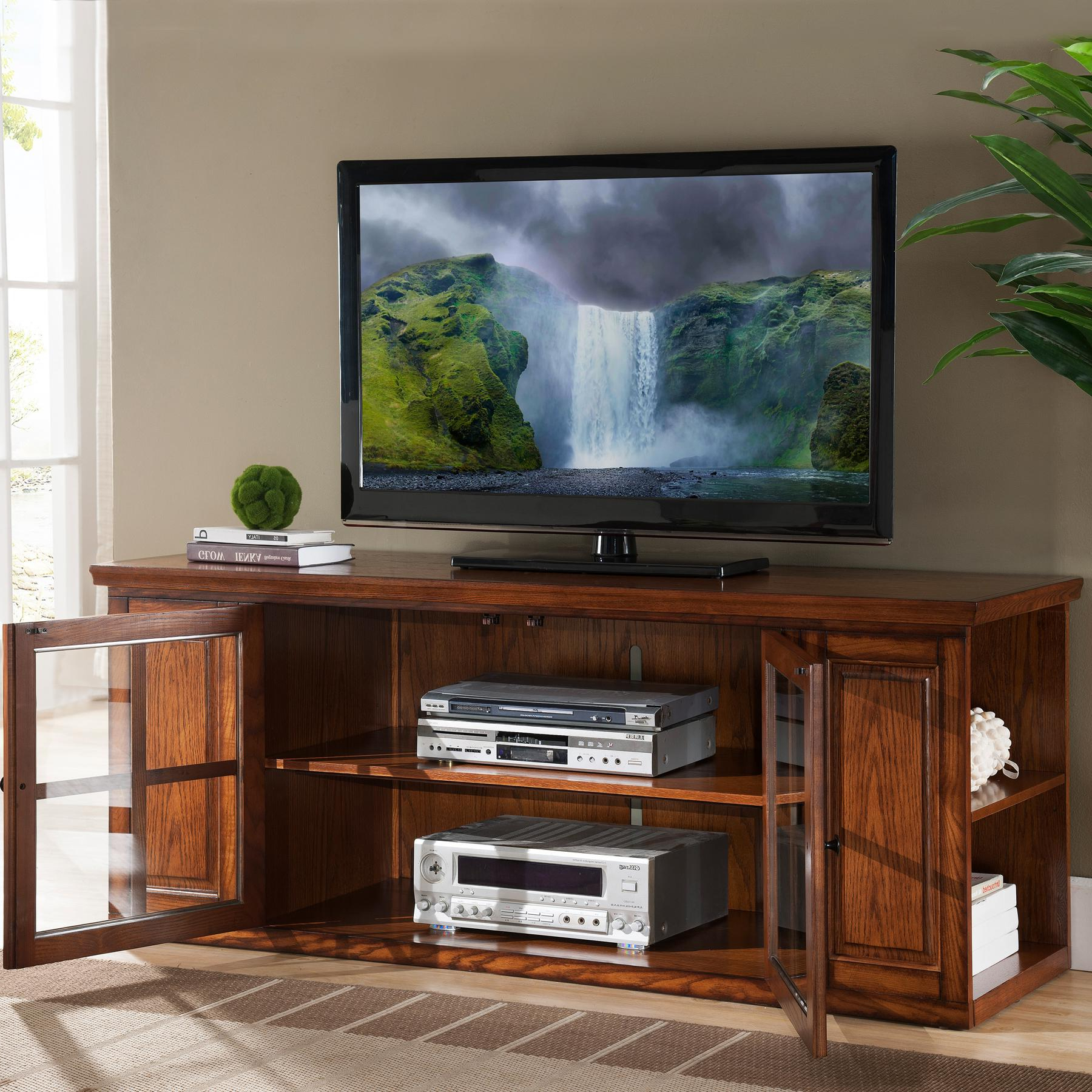 Edwin Black 64 Inch Tv Stands With Regard To Famous Amazon: Leick Riley Holliday Tv Stand, 62 Inch, Burnished Oak (Gallery 19 of 20)