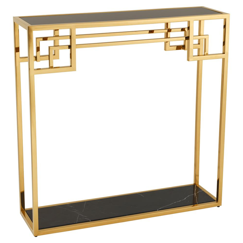 Eichholtz Morris Hollywood Regency Black Marble Glass Gold Frame With Regard To Famous Frame Console Tables (Gallery 17 of 20)