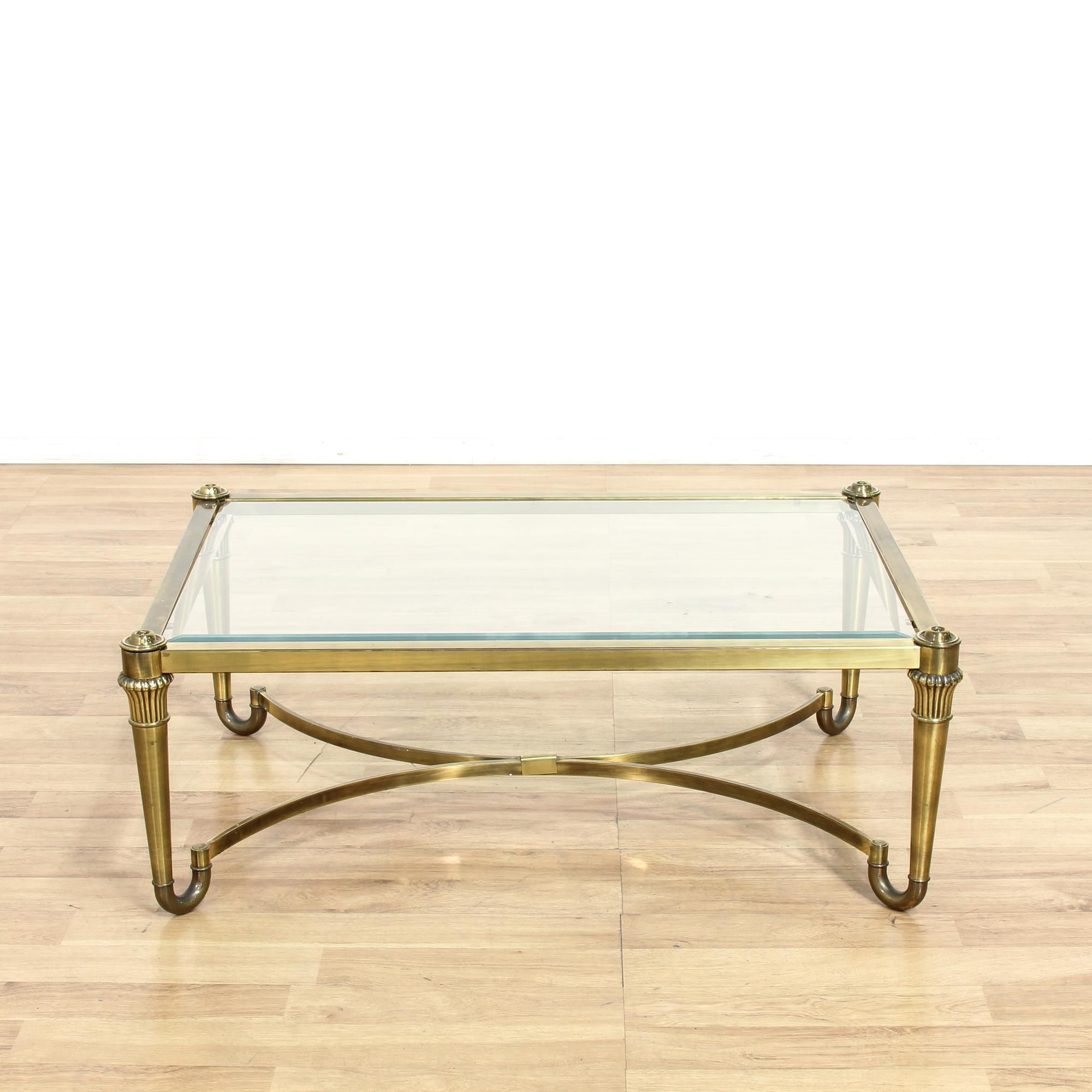 Elke Glass Console Tables With Brass Base Intended For Most Recent This Hollywood Regency Coffee Table Is Featured In A Durable Metal (View 13 of 20)