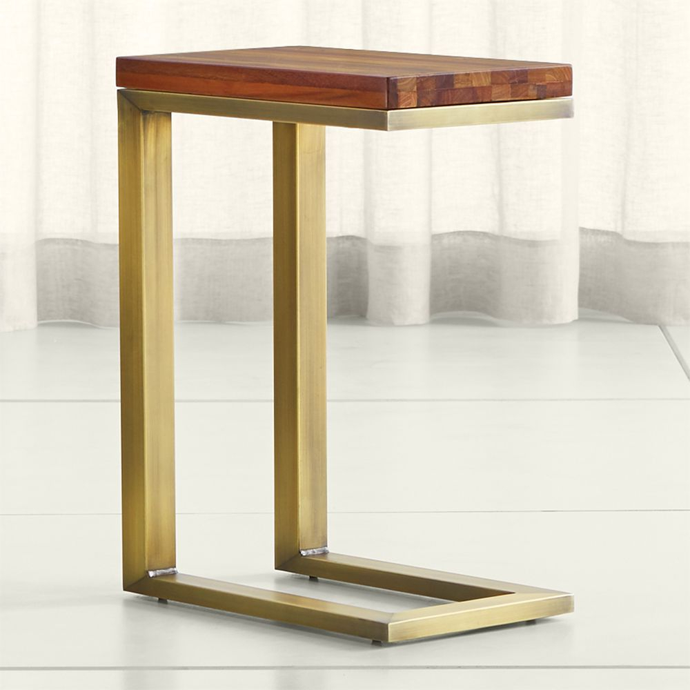 Elke Marble Console Tables With Brass Base Pertaining To Trendy Parsons Reclaimed Wood Top/ Brass Base 20X12 C Table (Gallery 10 of 20)