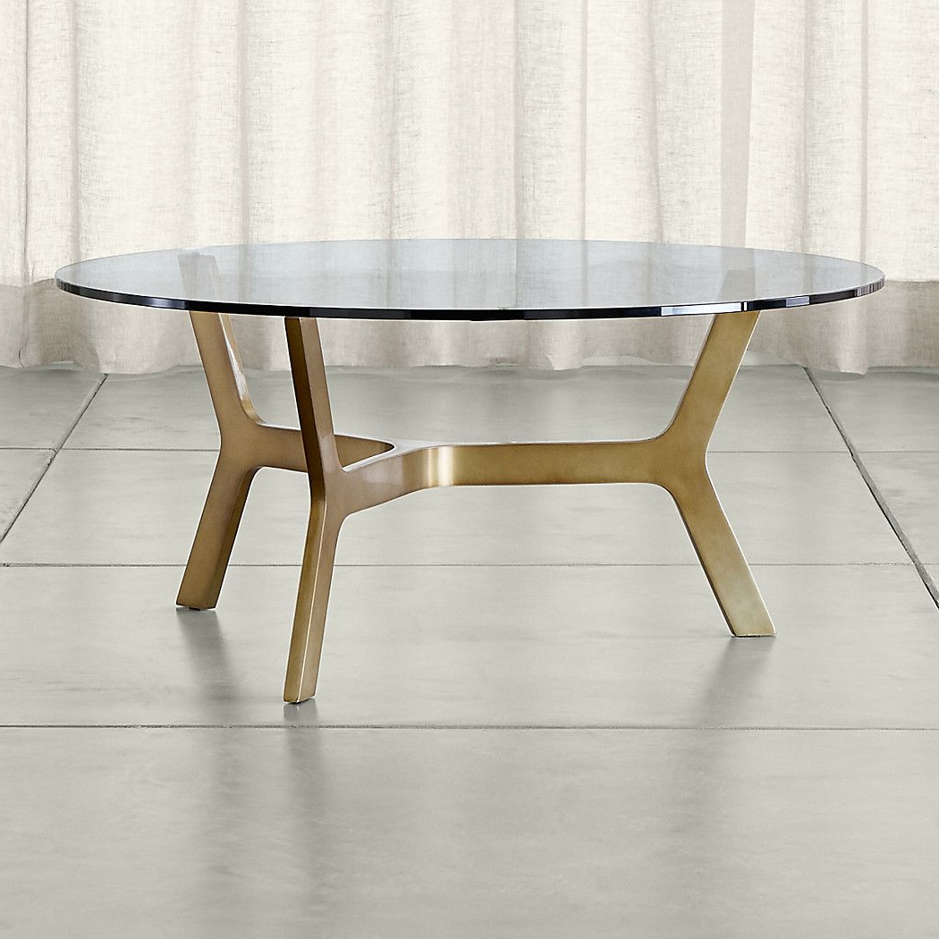 Elke Round Glass Coffee Table With Brass Base (View 4 of 20)