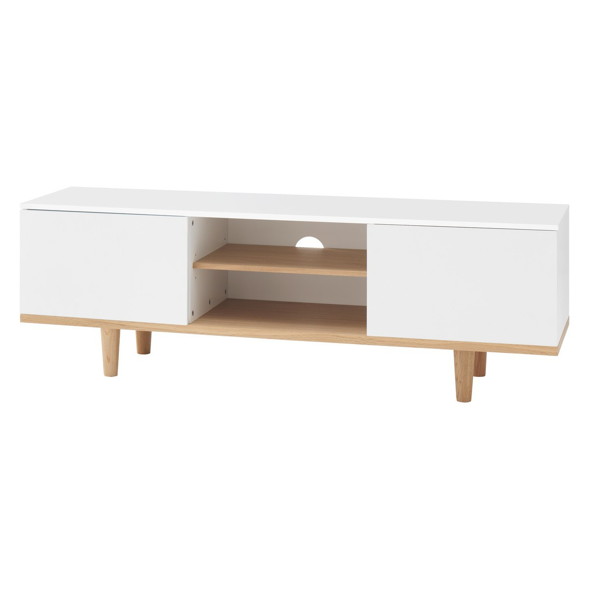 Elliott White Large Tv Stand With 2 Doors (Gallery 4 of 20)