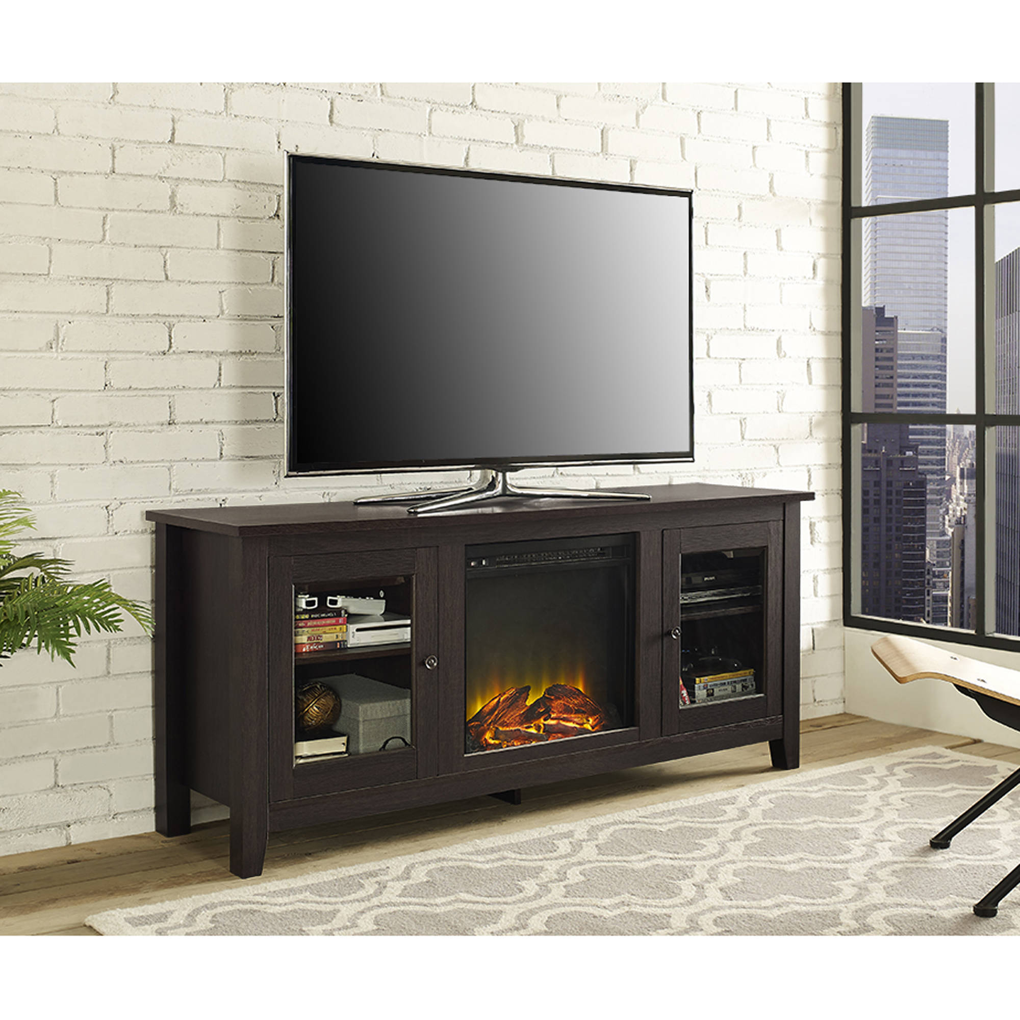 Enclosed Tv Cabinets With Doors Inside Current Tv Stands & Entertainment Centers – Walmart (View 7 of 20)