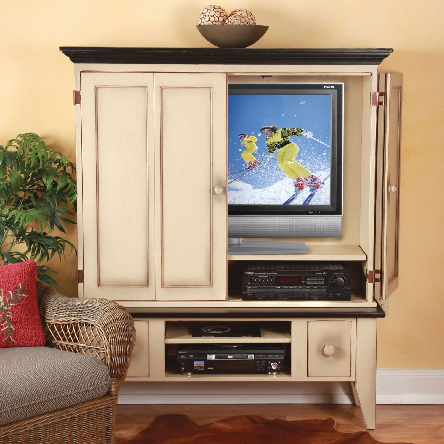 Enclosed Tv Cabinets With Doors Pertaining To Fashionable Enclosed Tv Cabinets With Doors – Image Cabinets And Shower Mandra (Gallery 2 of 20)